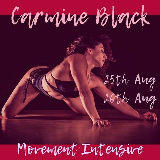 For my DMV friends. This is your last opportunity to sign up for my movement intensive this weekend at @aradiafitnessloudoun 💓! Go to my website www.carmineblack.com and select intensives for more info. This my last intensive this year, and I can't wait to dance with you! #movement #workshops #flow #poledance #floorwork #carmineblack #fitness #dance #virginia #aradia