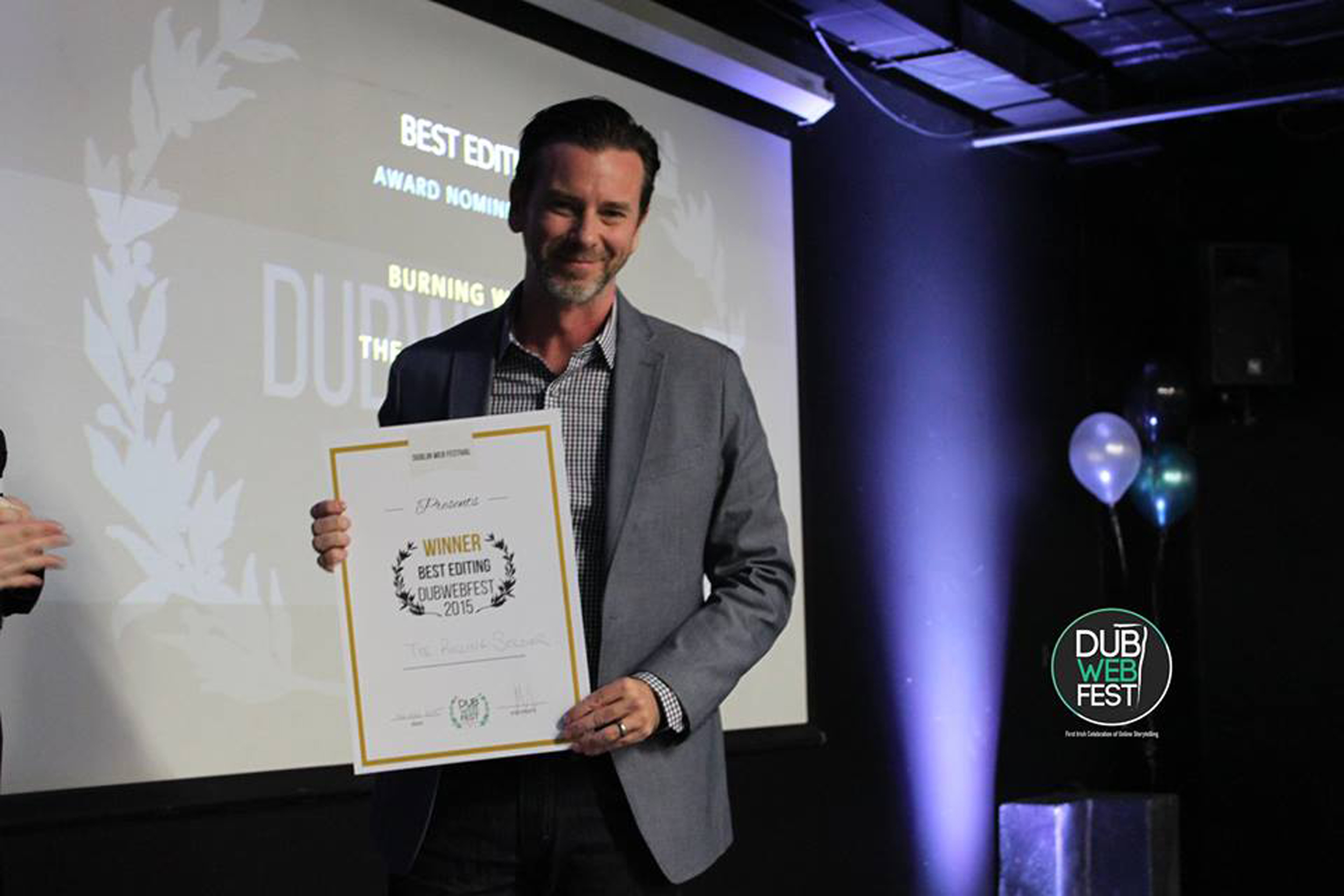 JOHN TAGUE ACCEPTING THE BEST EDITING AWARD AT THE 2015 DUBLIN WEB FEST AWARDS
