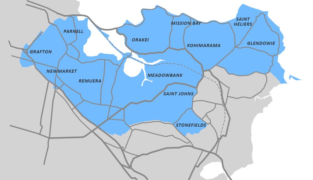 Orakei Ward Boundaries, 2019