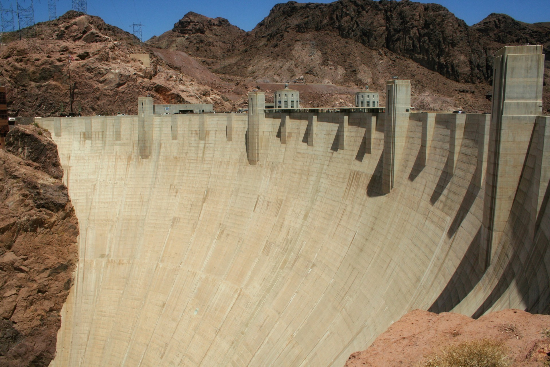 The wall of the Hoover Dam