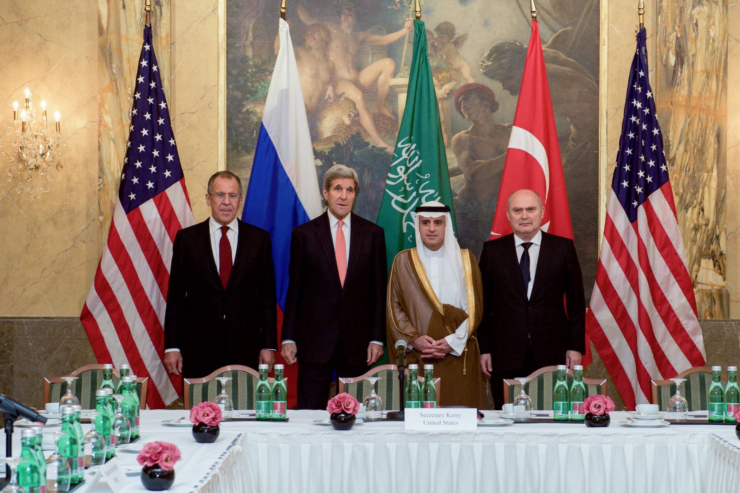 Secretary Kerry meets with Turkish Foreign Minister Sinirlioglu, Saudi Foreign Minister al-Jubeir, and Russian Foreign Minister Lavrov before their meeting on Syria