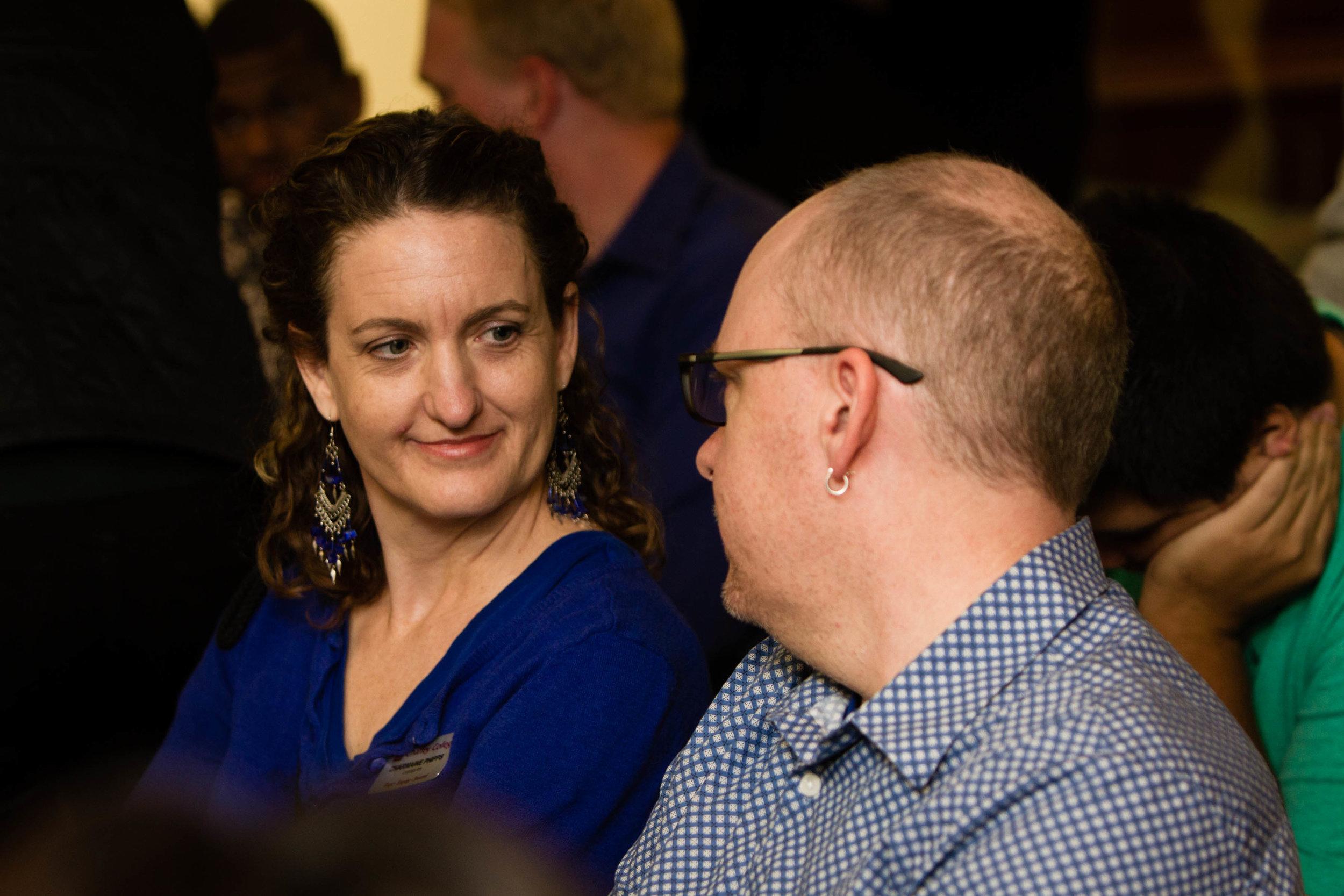 English and Journalism Coordinator Neil Watkins speaks to ESL teacher Charmaine Phipps Thu. Dec. 15. Photo by Duane Tkatch.