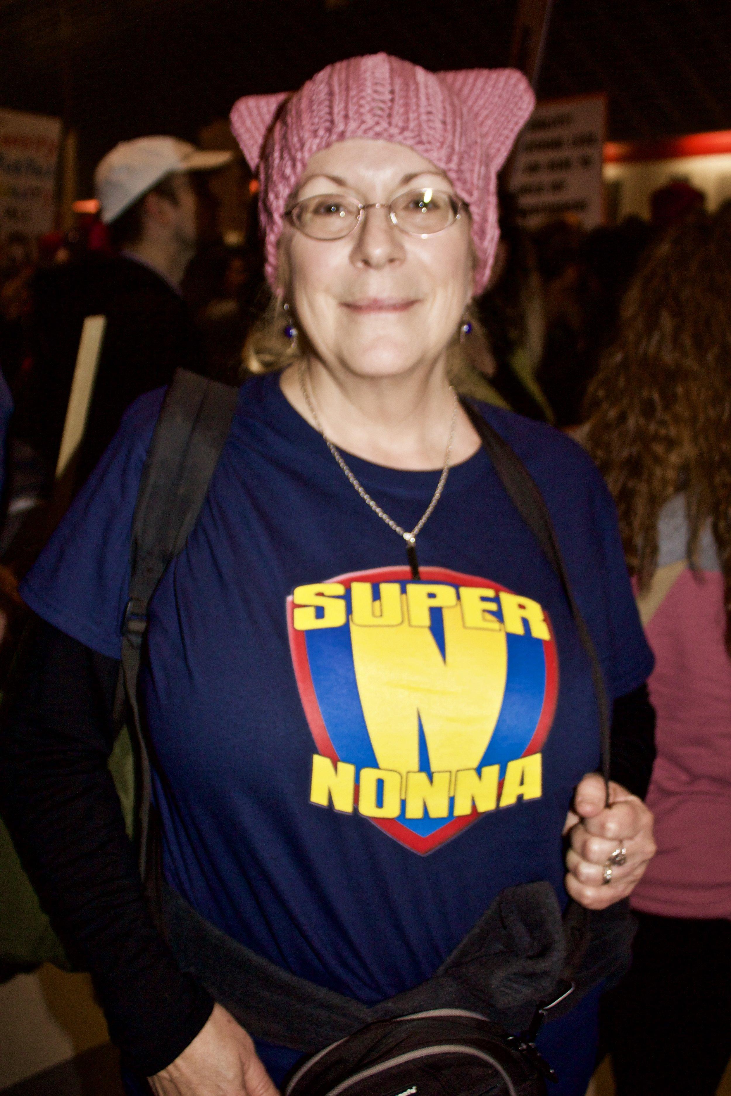 """""""Super Nonna"""" or """"Super Grandma"""" rallies in DTLA for the Women's March."""