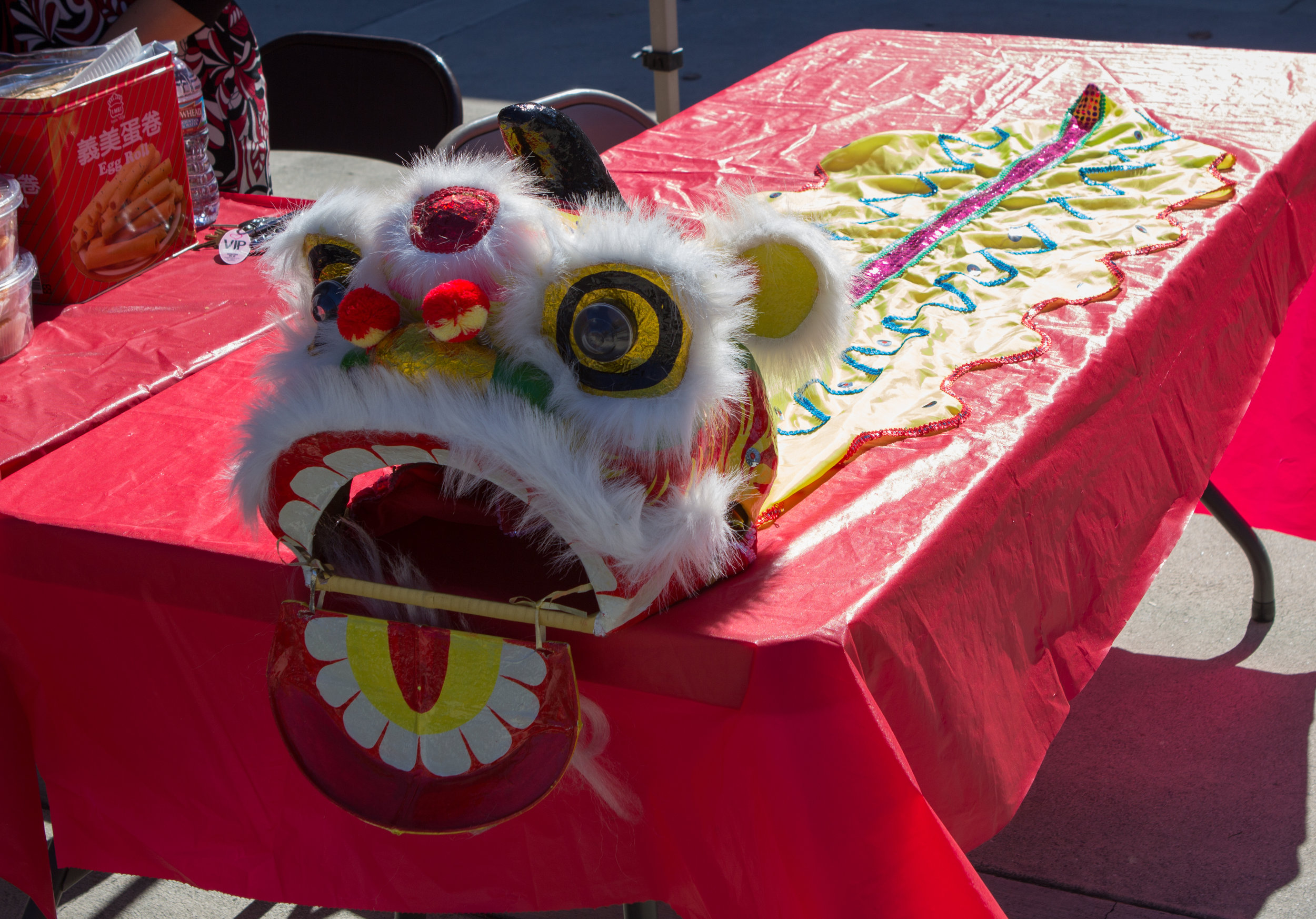 A decorative lion mask in miniature used for the Lunar New Year Celebration. Photo by Christopher Santee.