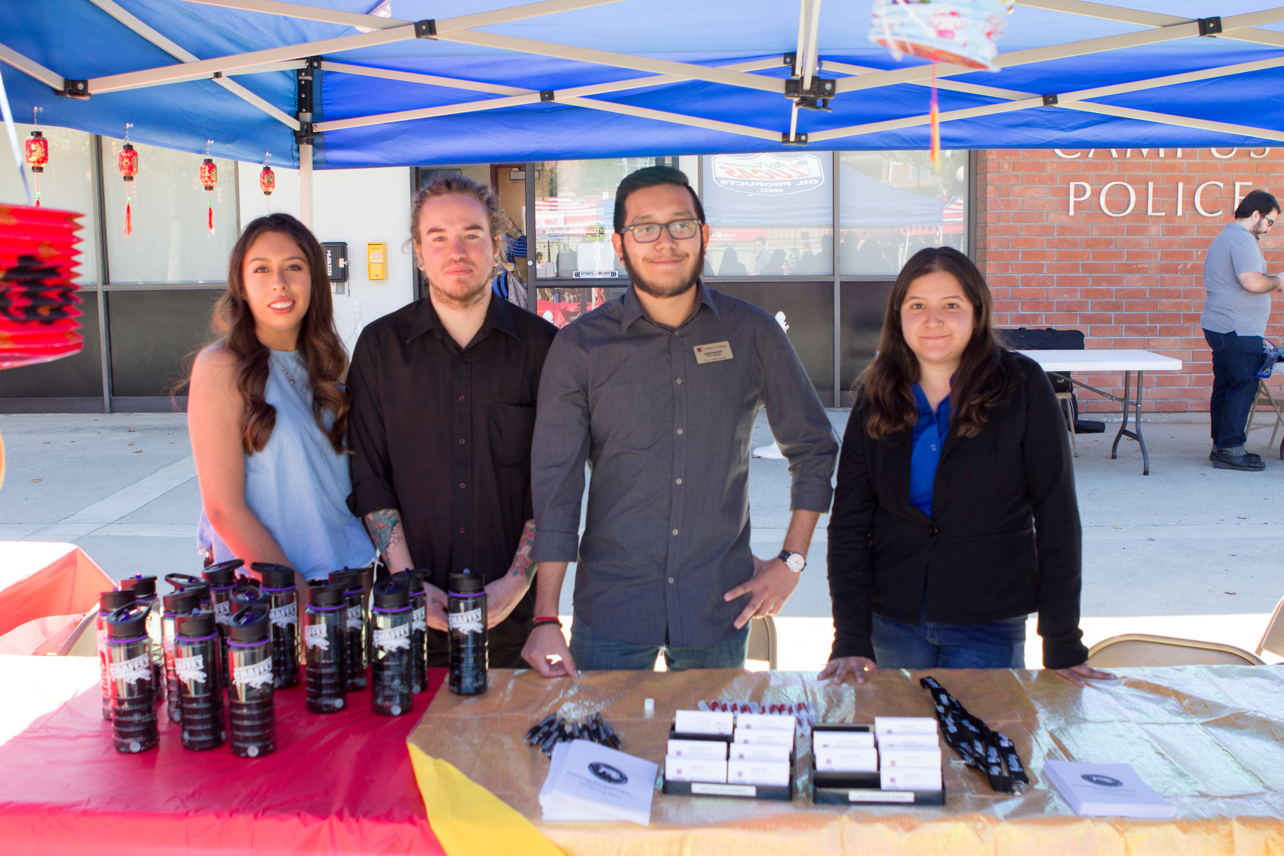From left: Isabel Sandoval, English major, Joseph Bunch, sociology major, Jonathan Raya, political science major, and Marina Jimenez, administrative justice major, represent the ASCC Student Government at the Club Rush Day on   Wednesday, Feb. 1, 2017. Photo by Christopher Santee.
