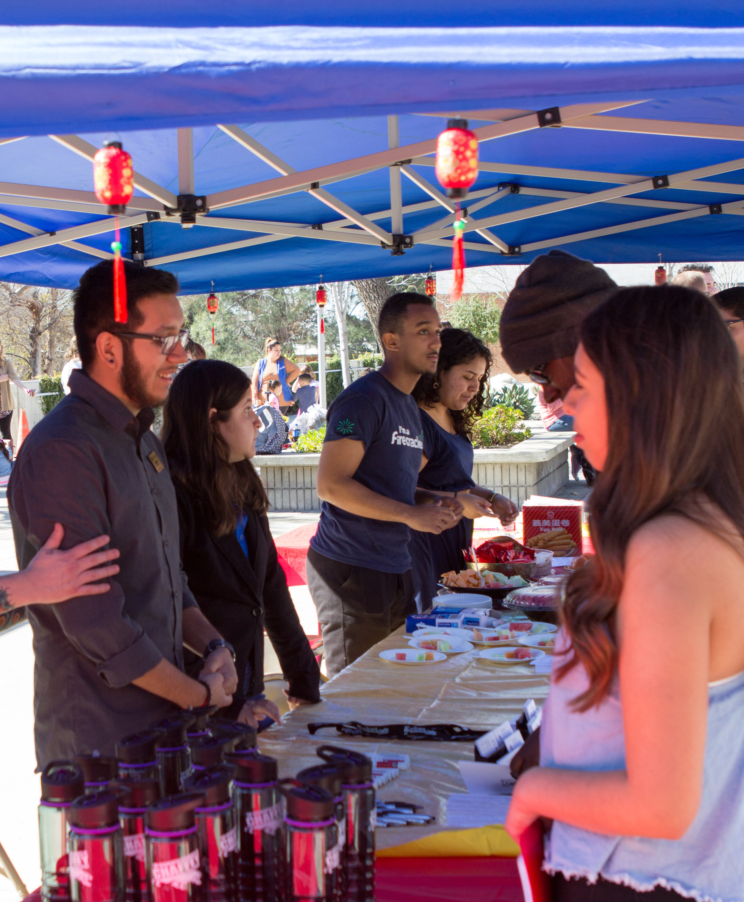 Far left: Jonathon Raya, political science major and ASCC council member talks to students about student government during the Club Rush event on   Wednesday, Feb. 1, 2017. Photo by Christopher Santee.