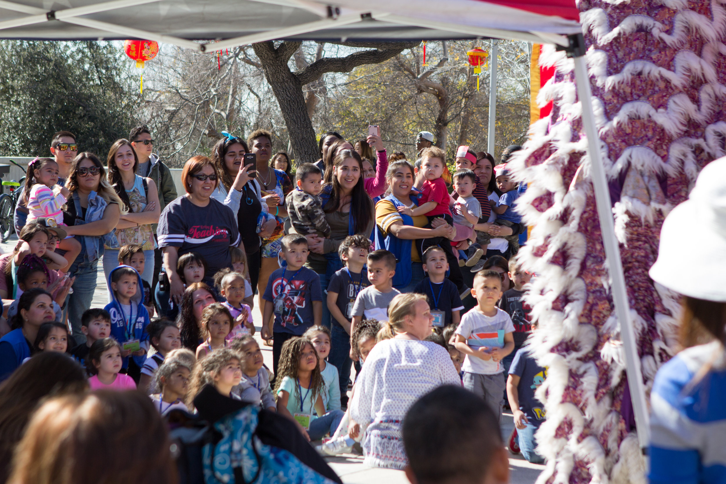 Workers and children from the Child Development Center gaze at the white lion standing tall during the finale of the lion dance on  Wednesday, Feb. 1, 2017 . Photo by Christopher Santee.