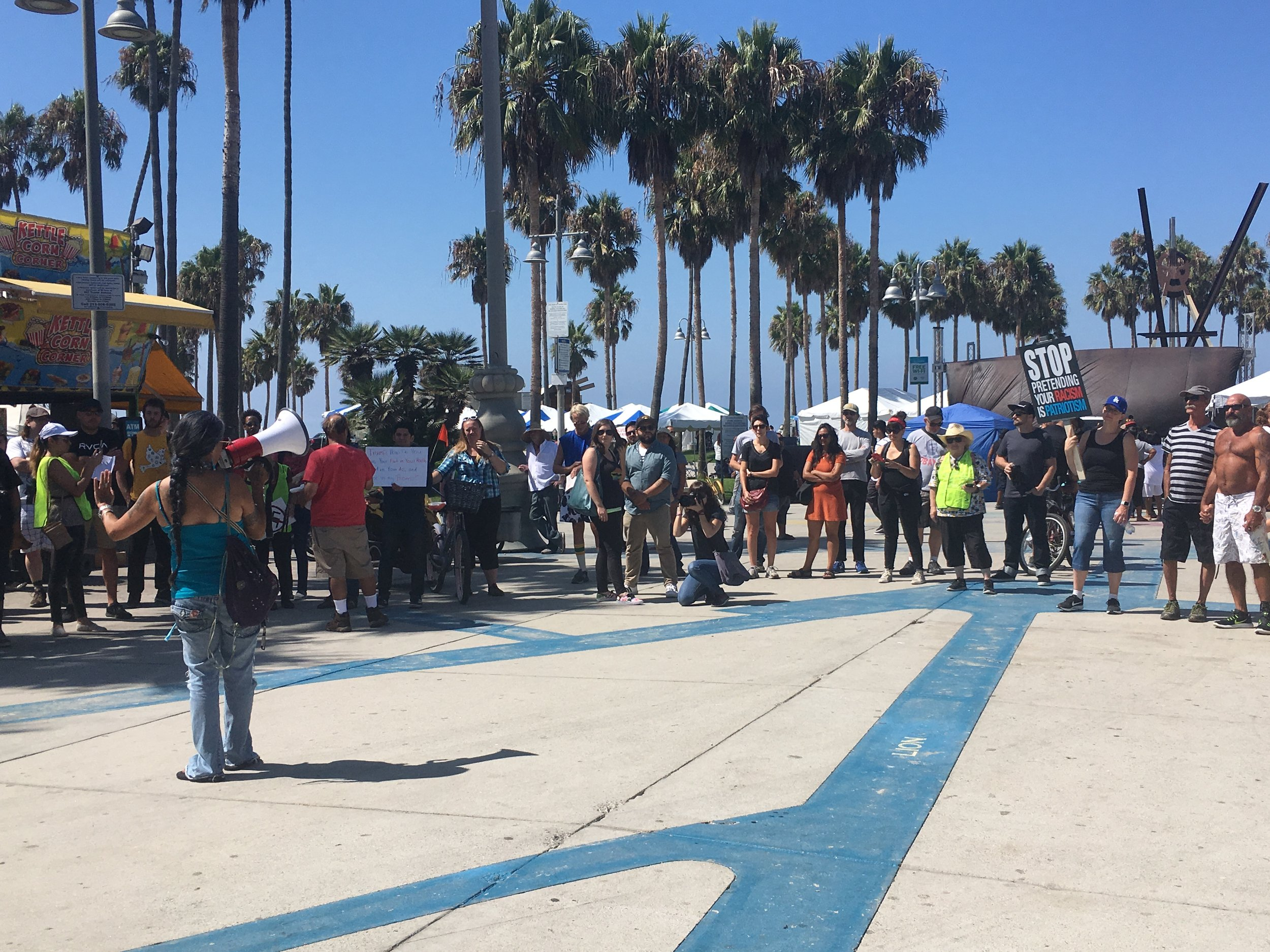 Protestors gather around at Venice beach on Aug. 19.