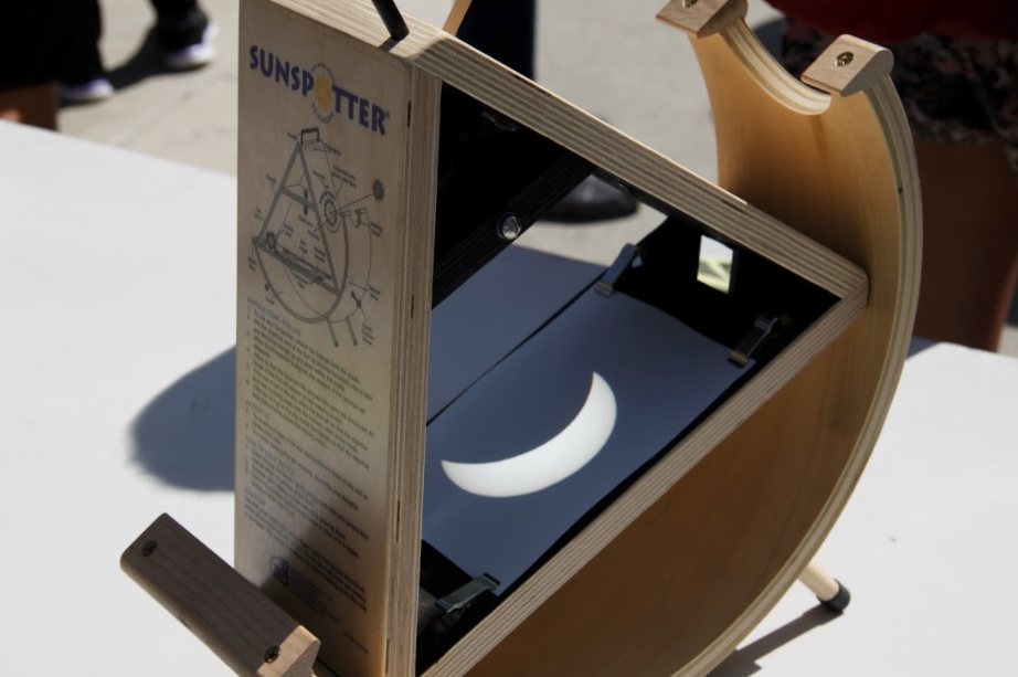 A Sunspotter projection of the partial solar eclipse. Photo by Jullian Aiden Bravo