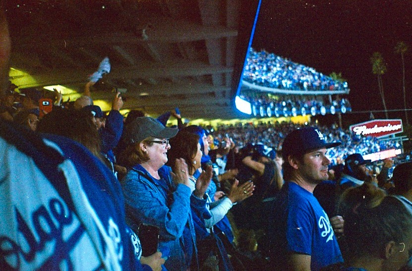 Dodger fans celebrate during a game of the World Series.