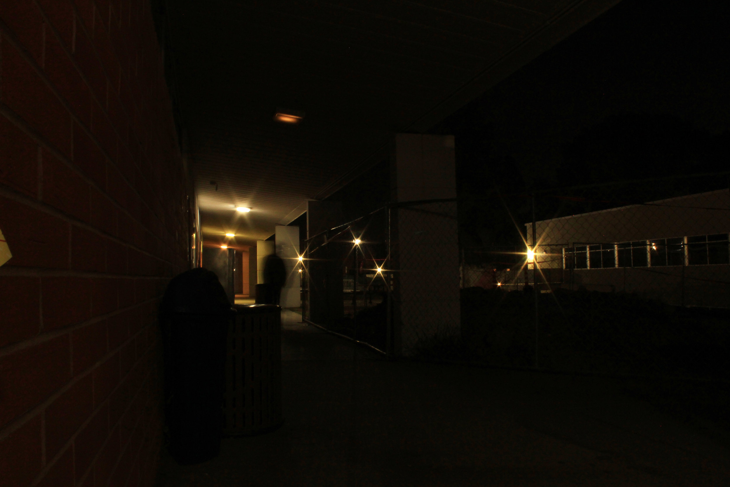 A flickering light creates an intensely ominous atmosphere at Chaffey college.