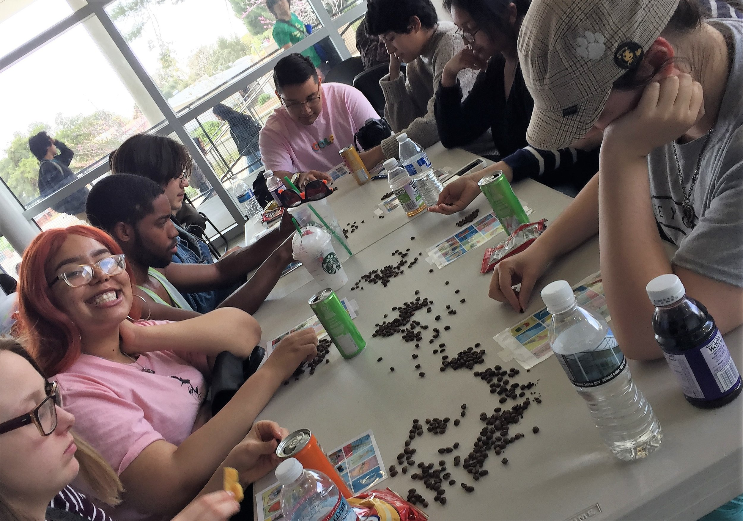 Students participating in the Millenial Loteria game.
