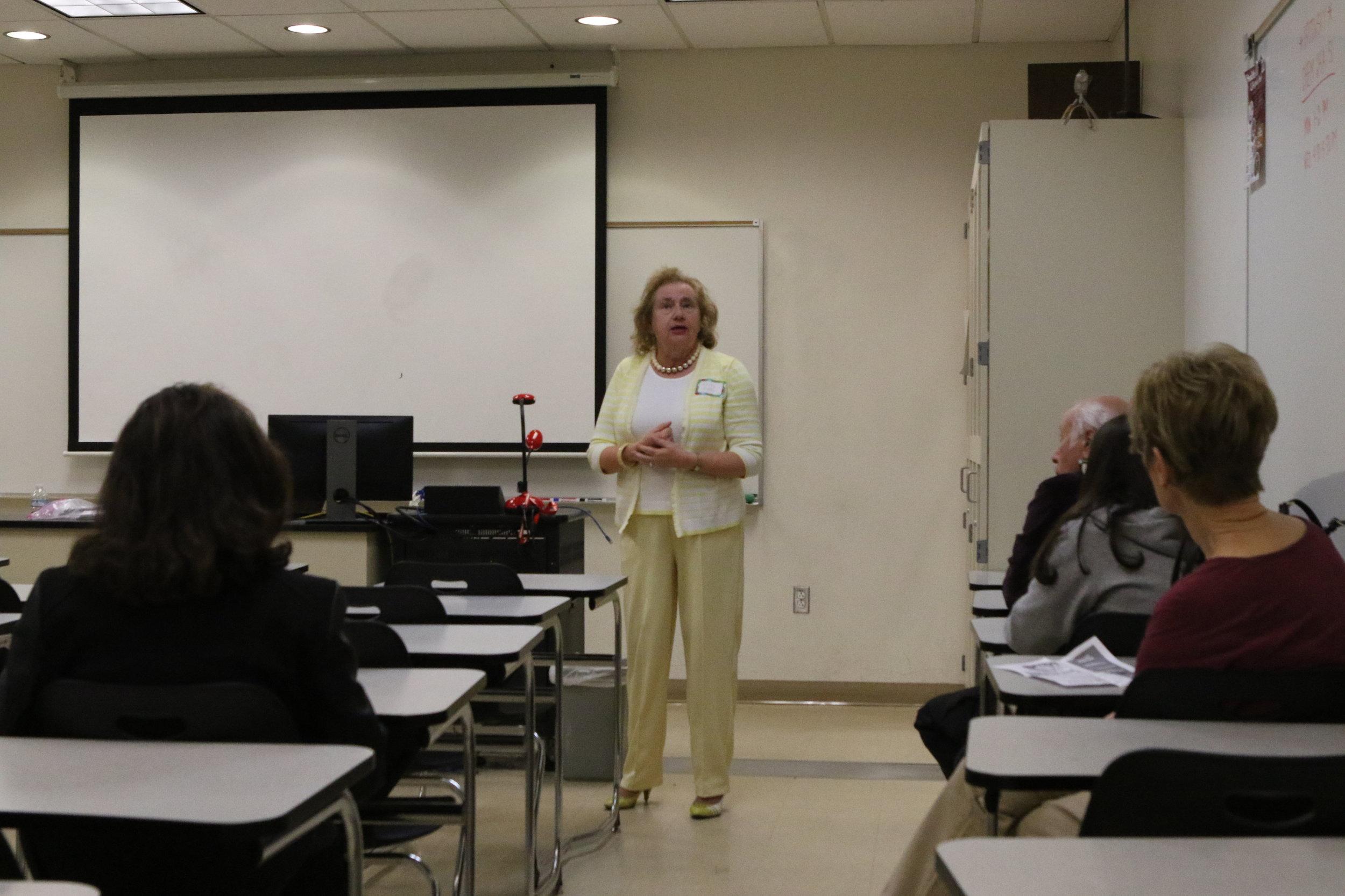 Tech Trek President Kathy Kinley introducing herself.  Photo by Brody Salazar