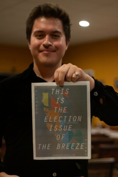 Hector Solorzano holding up the Elections Issue of  The Breeze  Newspaper. Photo Credit: Raylene Camerano.