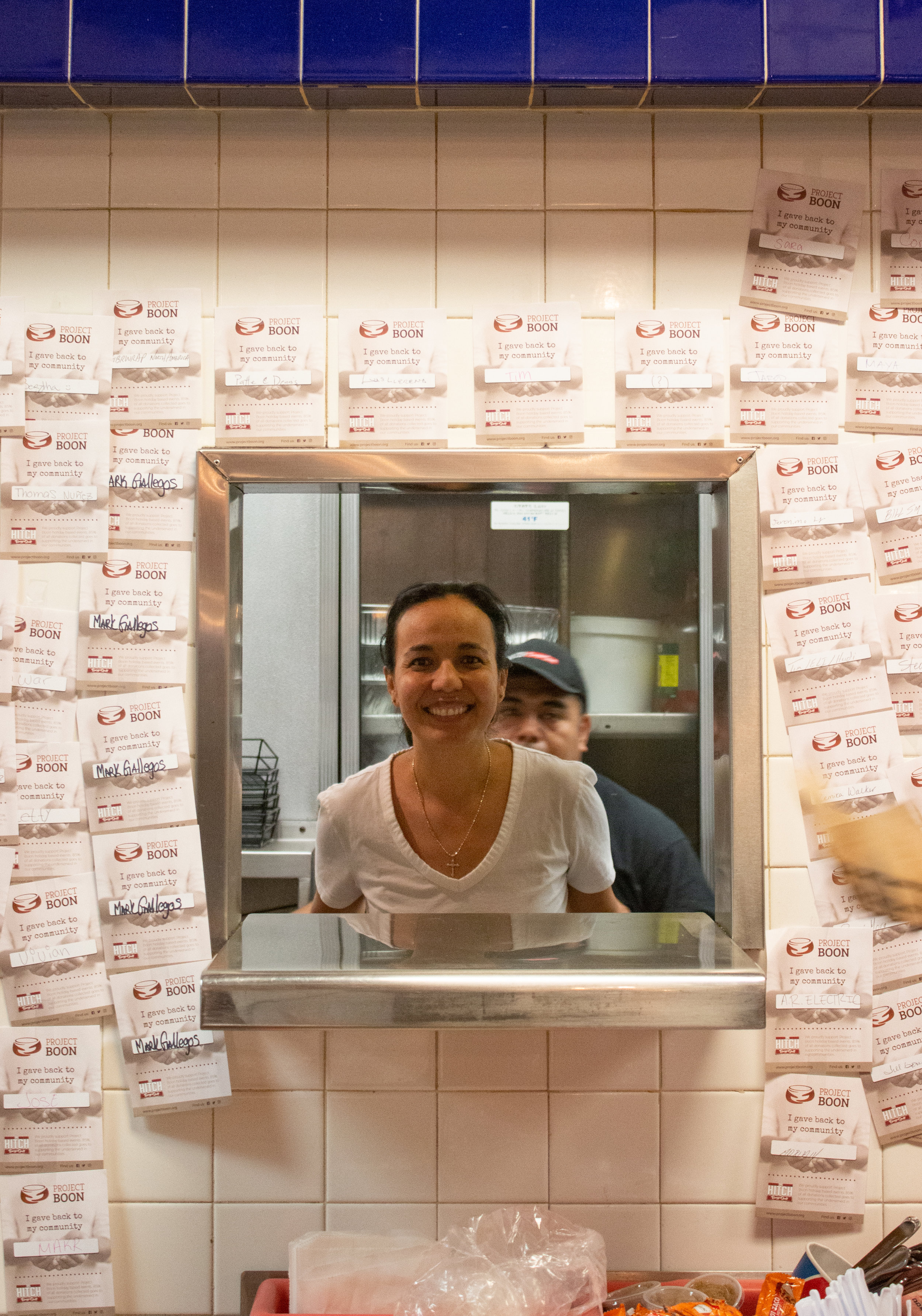 Co-owner of The Hitch Burger Grill, Karina Suchánek, poses for a picture while hosting the preparation of Thanksgiving meals. Photo Credit: Raylene Camerano