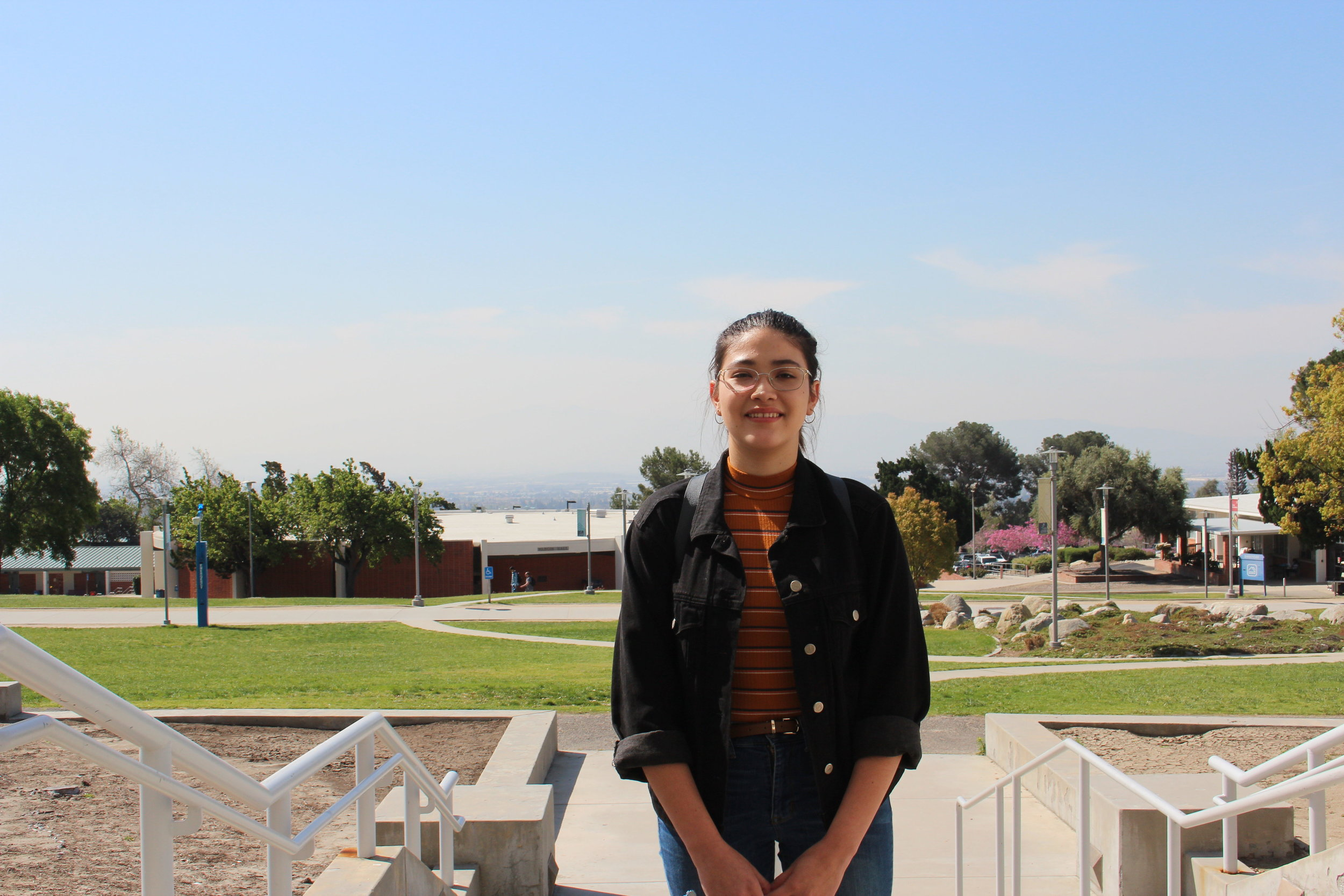 Student Daniela Fabian at Chaffey Community College. Photos by Paris Barraza.