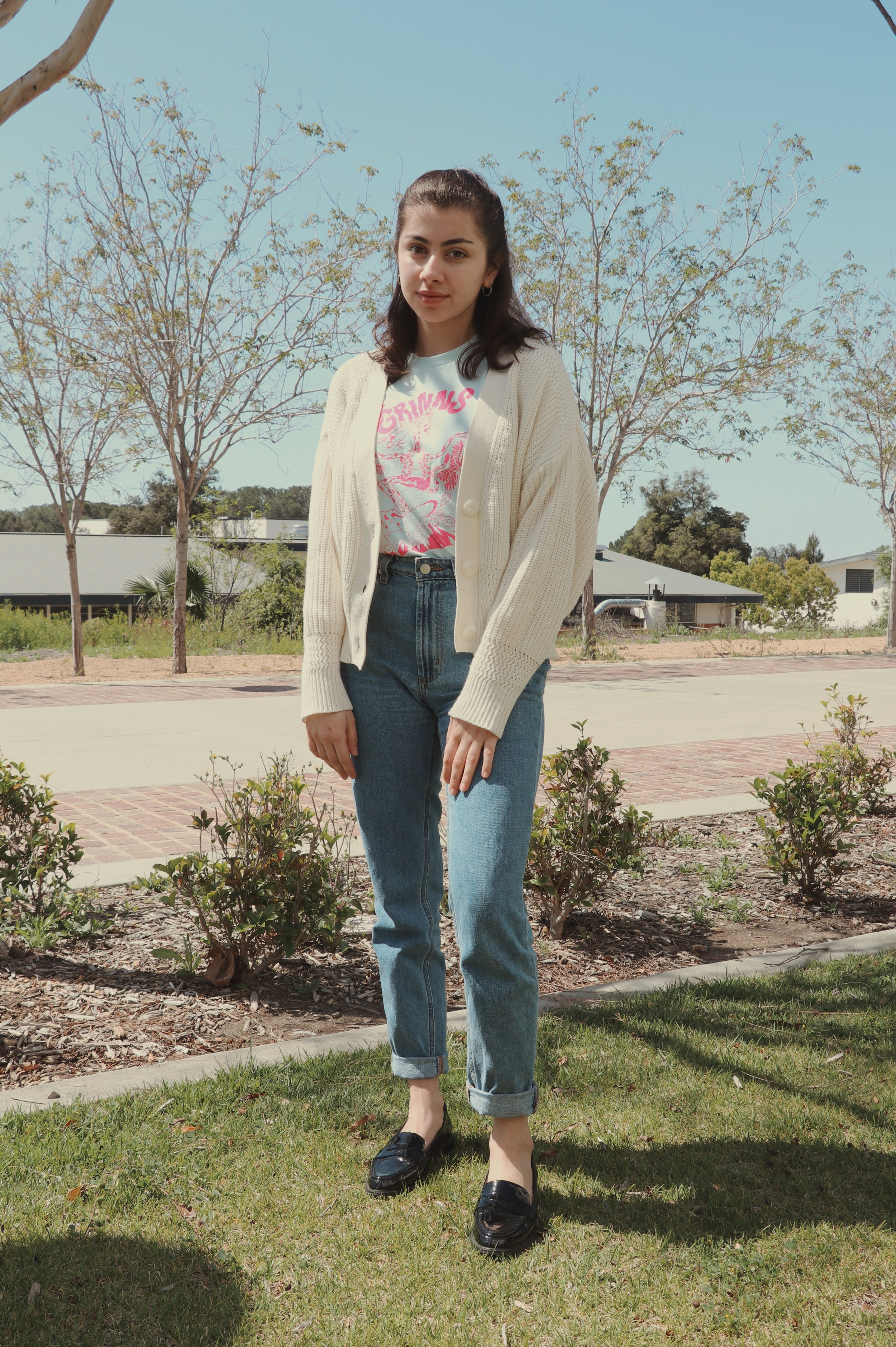 Chaffey student Giovanna Trujilo dresses in soft colors for a 90's inspired causal fit, finished off with a pair of leather loafers.