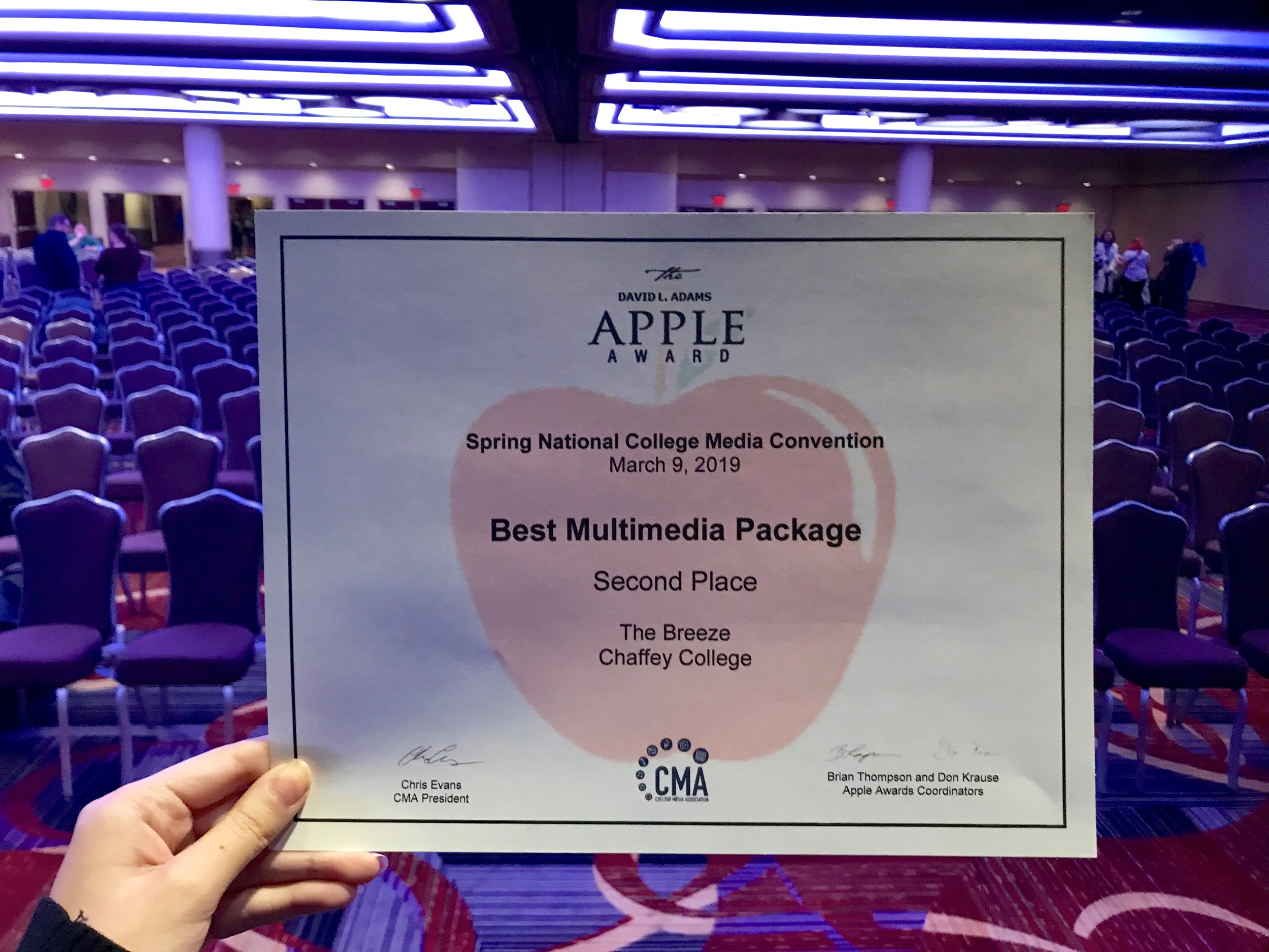 The Breeze is awarded Second Place for Best Multimedia Package at the Spring National College Media Convention. Photo by Paris Barraza.