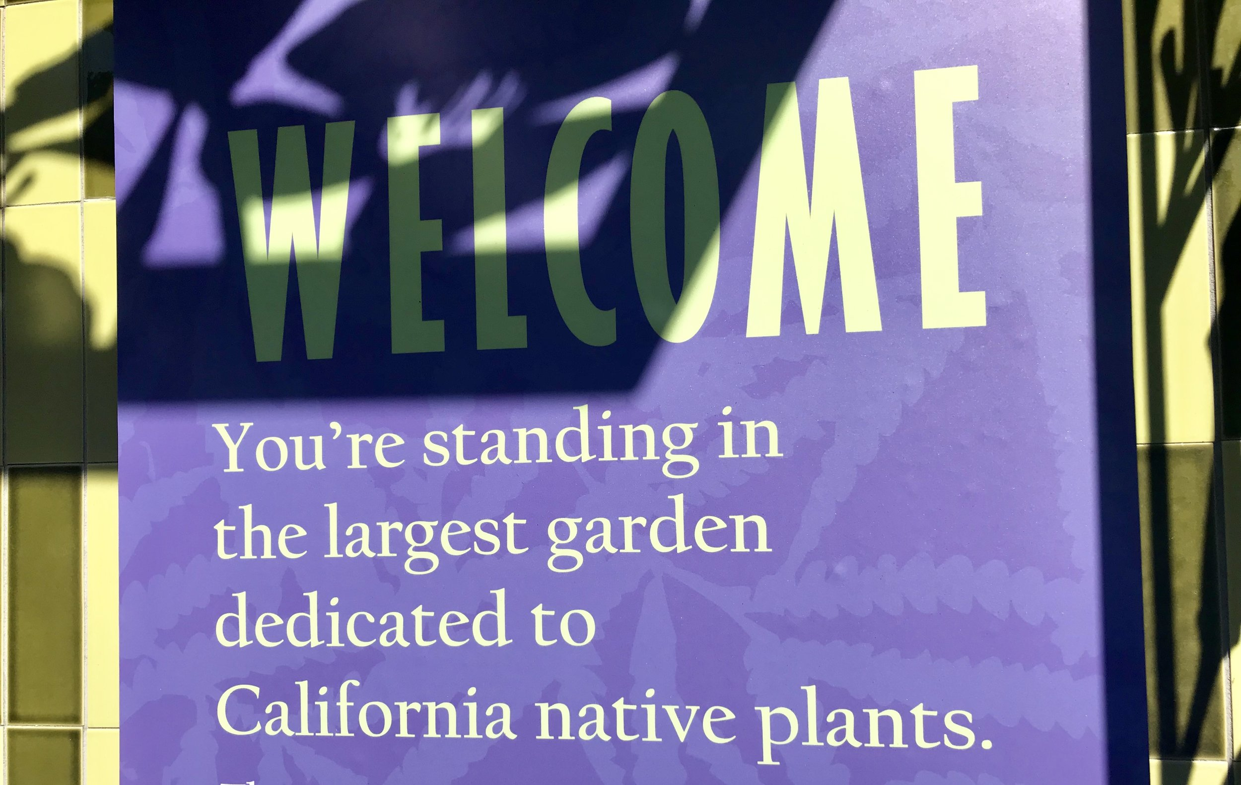 A welcome sign greets visitors as they enter the garden. Photos by Paris Barraza.