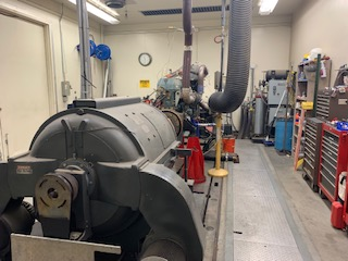 An engine connected to a dynamometer at UCR Ce-CERT. Photos by Ryan Gibson.