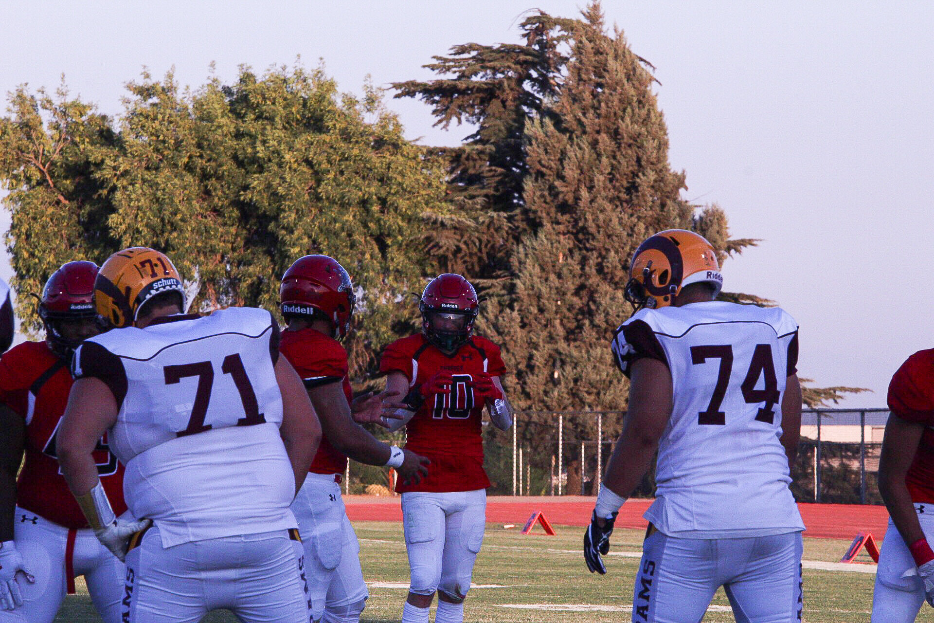 Jerin Appling making mid-game defensive adjustments during Saturday's game against Victor Valley College. Photos by Joshua Gutierrez.