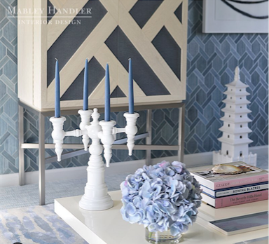 Our Napoleon candelabra in the beautiful room designed by  Mabley Handler  for  Kip's Bay Palm Beach .