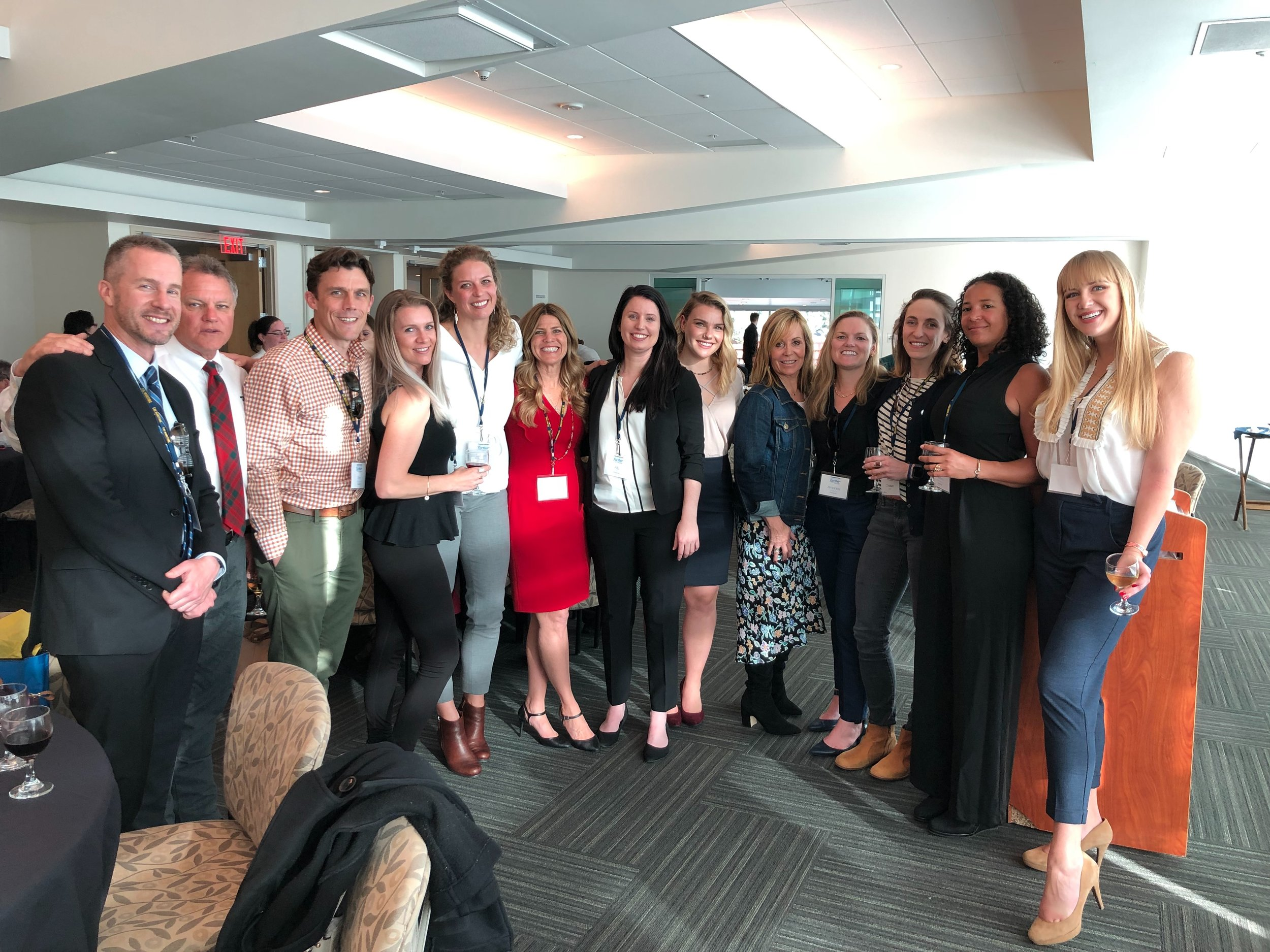 From left to right: Captains Andrew Murray, George Livingstone, and Daniel Bridgman of the San Francisco Bar Pilots (event sponsor); Chae Guillot, Elizabeth Simenstad, Joy Hall, Ally Cedeno, Bonnie Muchnik, Christi Calvert, Amanda Wallace, Chelsea Rice, Serena Webber-Bey, and Anastasija Kuprijanova.