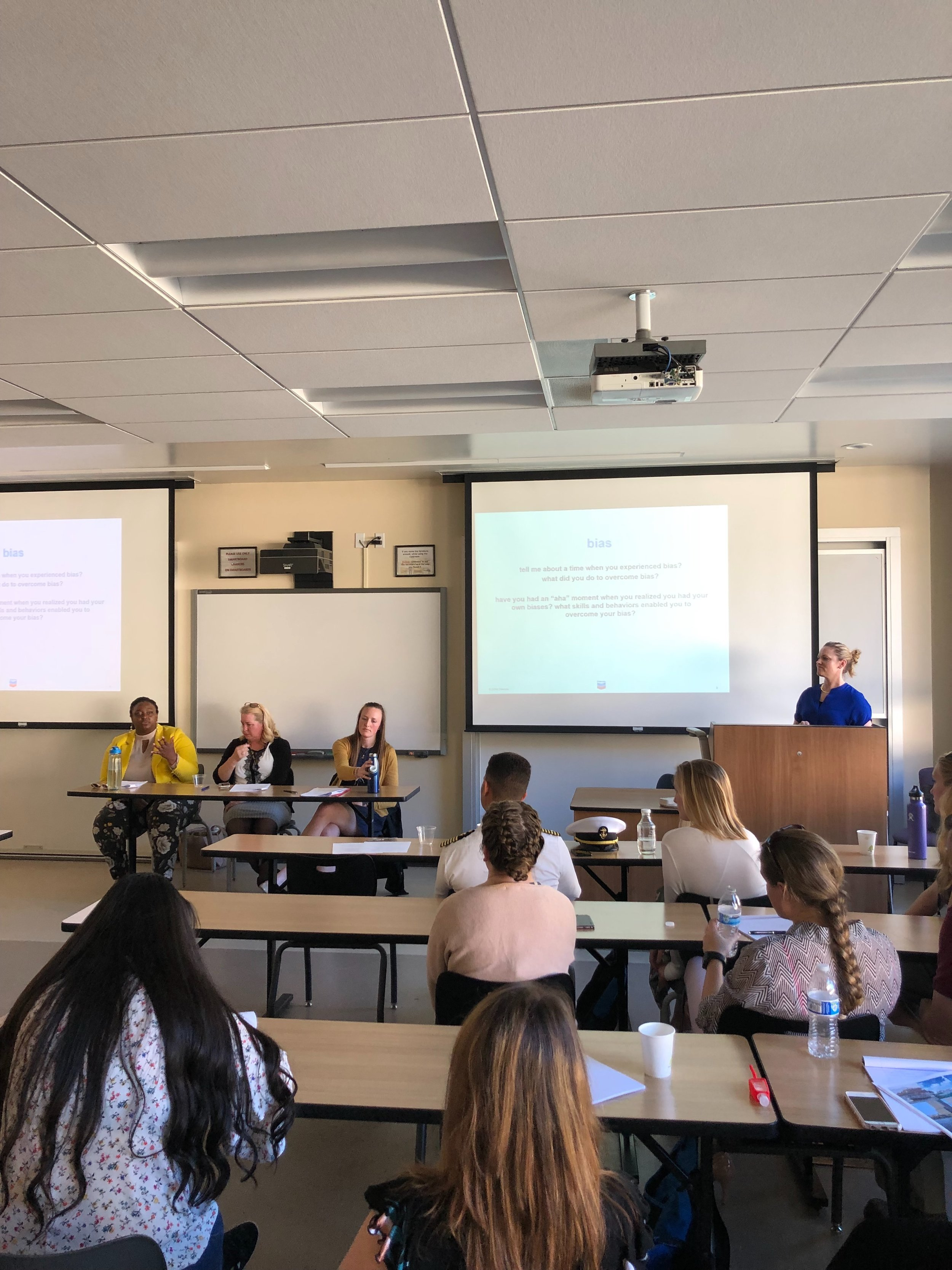 "Chevron panel on ""Piloting Changes In Organizational Culture"" with Pascha McAlister, Holly Osen, Becky Piks, and Amanda Wallace."