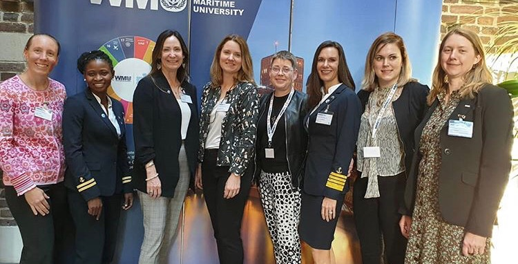 Women who are actively sailing who attended the conference. Left to right: Captain Lindsay M Price, 1st Officer Nicholine Tifuh Azith, Captain Wendy Williams, Captain Hanna Odengrund, Captain Marlin Anderson, Captain Kate McCue, 1st Officer Agnes Olsson, Captain Linda Svenson