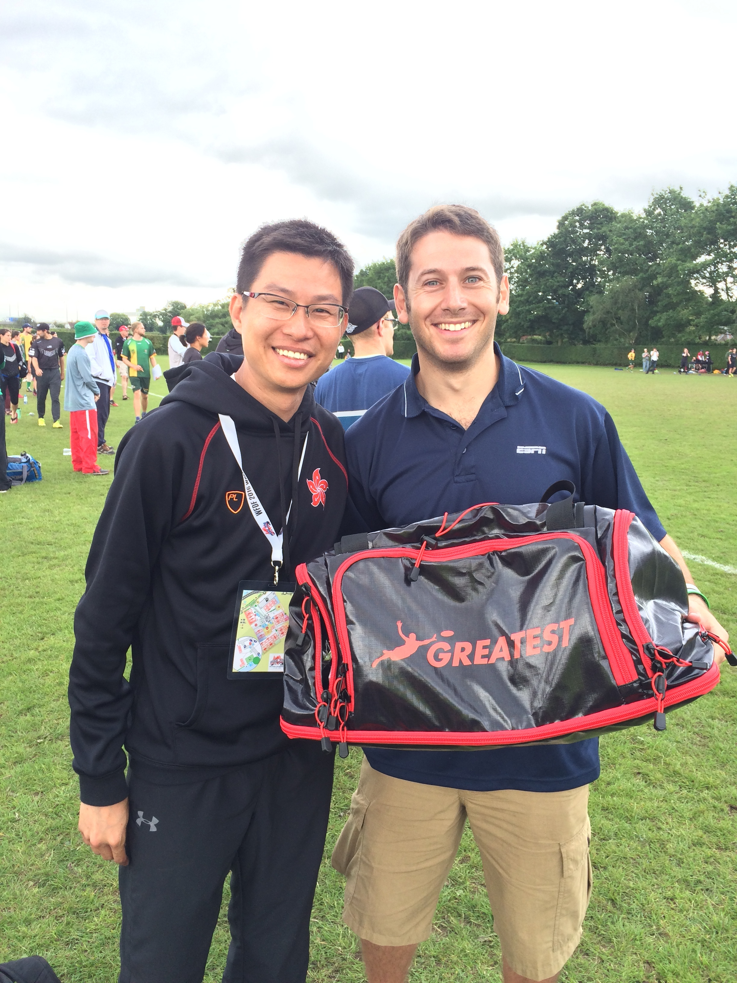 Evan (right) and Terry Au at World Ultimate and Guts Championship in London, June 2016