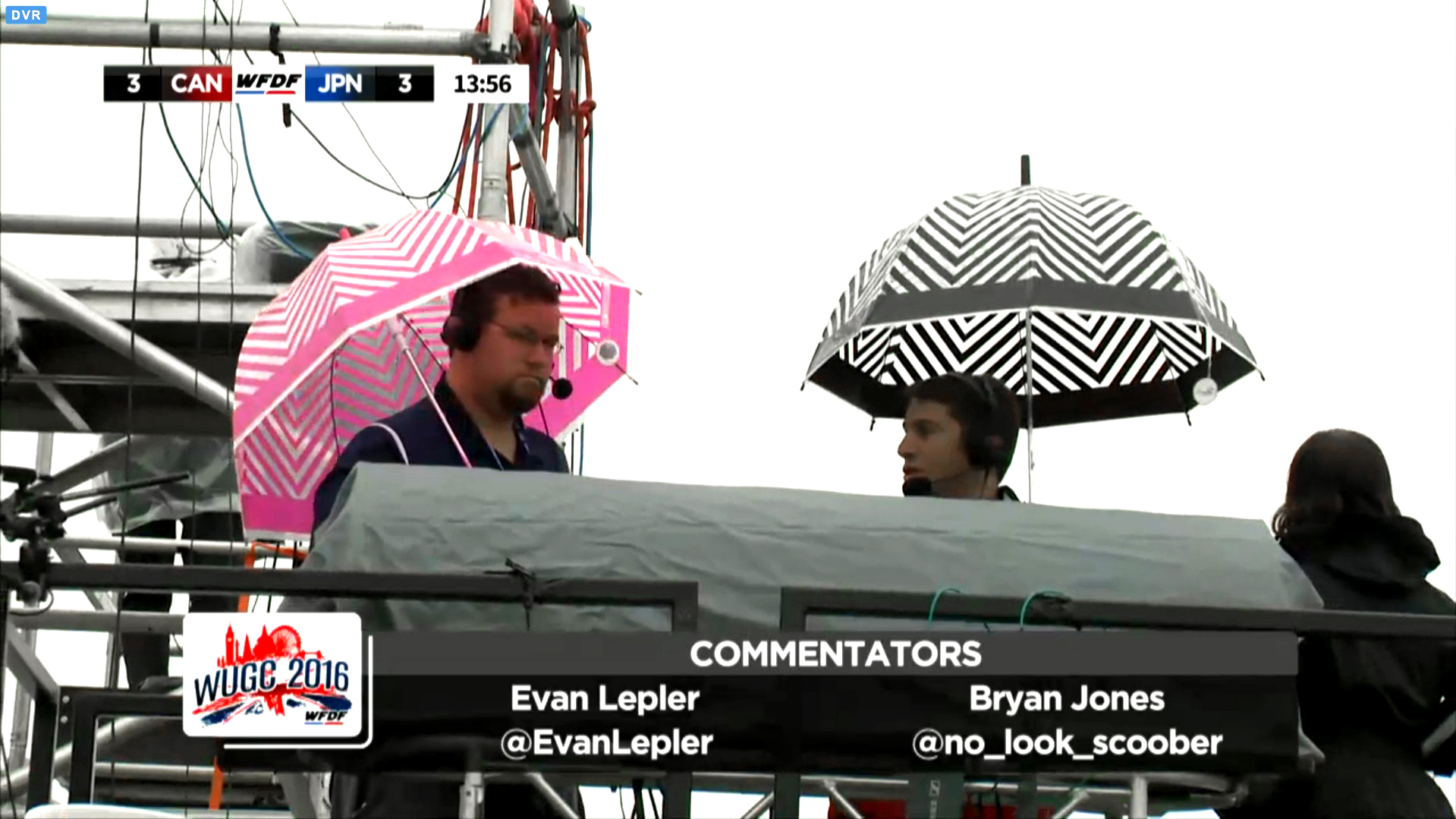 Evan (right) and fellow commentator brave the London rain at WUGC 2016