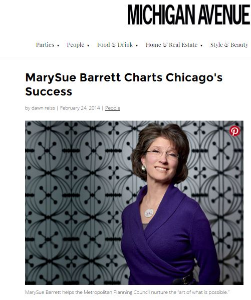 As the Metropolitan Planning Council celebrates its 80th Anniversary, president MarySue Barrett steps up her quest to foster Chicago's development.