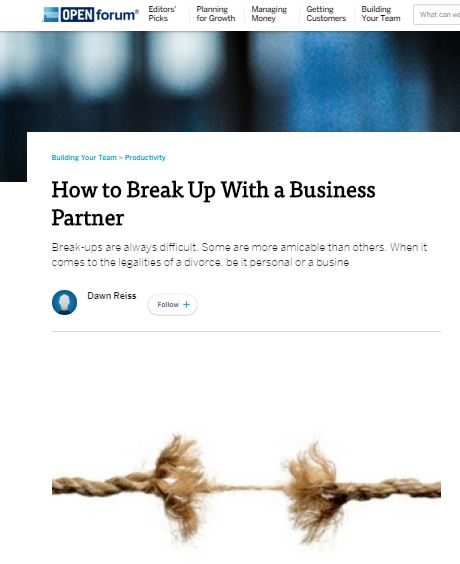 Break-ups are always difficult. Some are more amicable than others. When it comes to the legalities of a divorce, be it personal or a business relationship, most people run to an attorney and prepare for battle.
