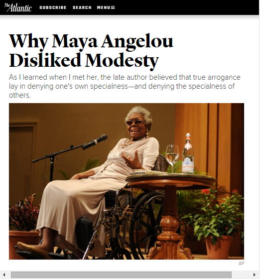 The Atlantic Why Maya Angelou Disliked Modesty Dawn Reiss