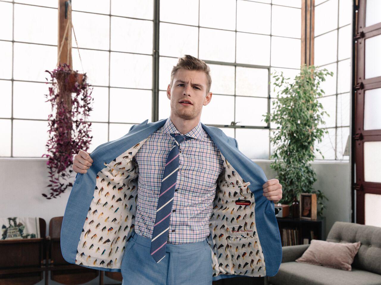 Model - Noah Teicher (LA Models)  Made to Measure Suit. Ready-to-Wear Necktie  Klein Epstein & Parker - Fashion Valley (San Diego)