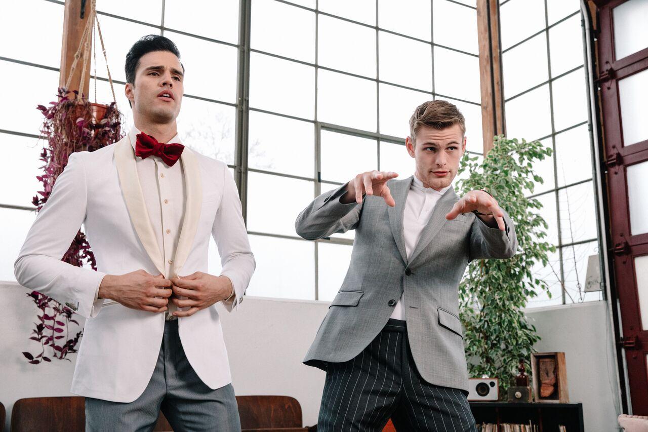 Models - Gil Soares & Noah Teicher (LA Models)  Made to Measure Suit. Ready-to-Wear Necktie  Klein Epstein & Parker - Newport Beach