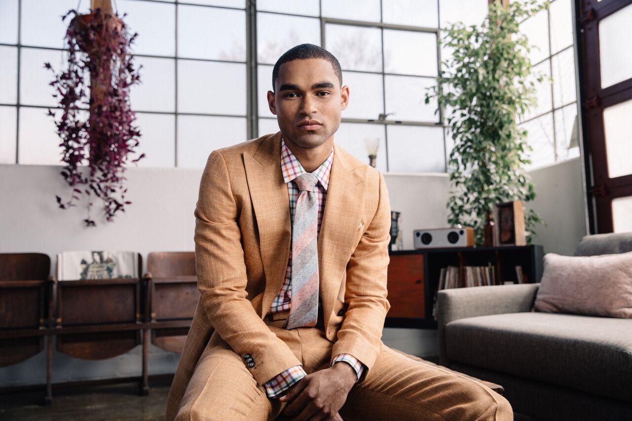 Model - Jason Baker (LA Models)  Made to Measure Suit. Ready-to-Wear Necktie  Klein Epstein & Parker - San Francisco