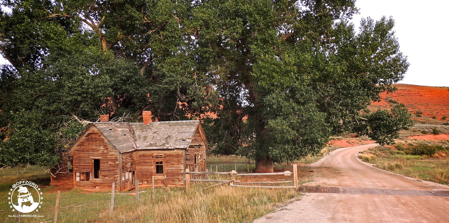 The original ranch house sits on this old dirt road leading away from the current home that has been fully restored.