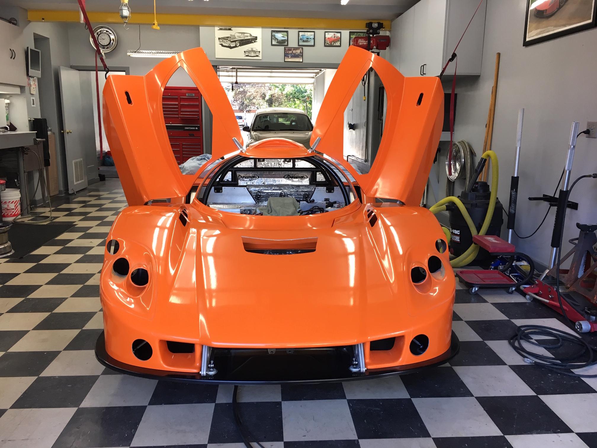 Prototype nose hinge mounted to Bob's car