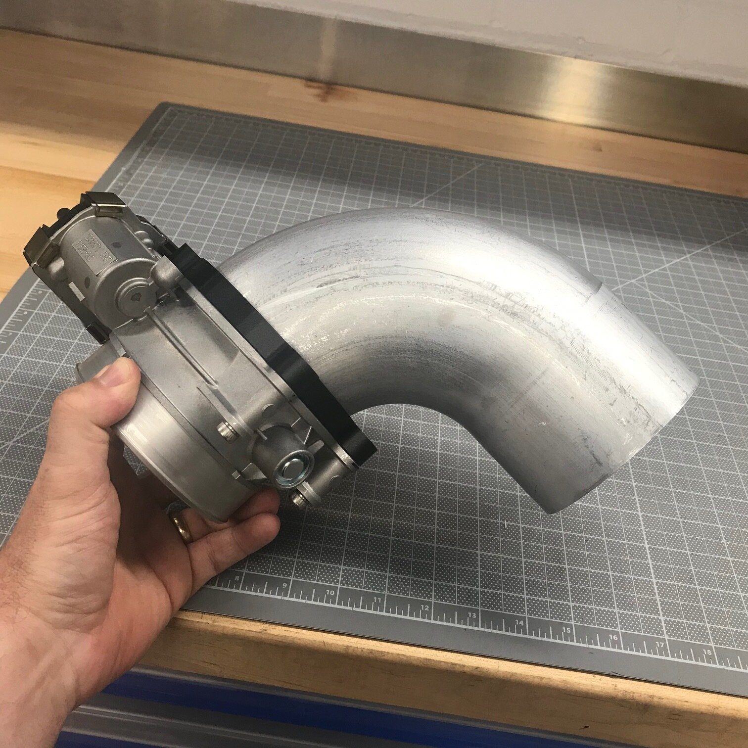 3D-printed prototype flange fits well