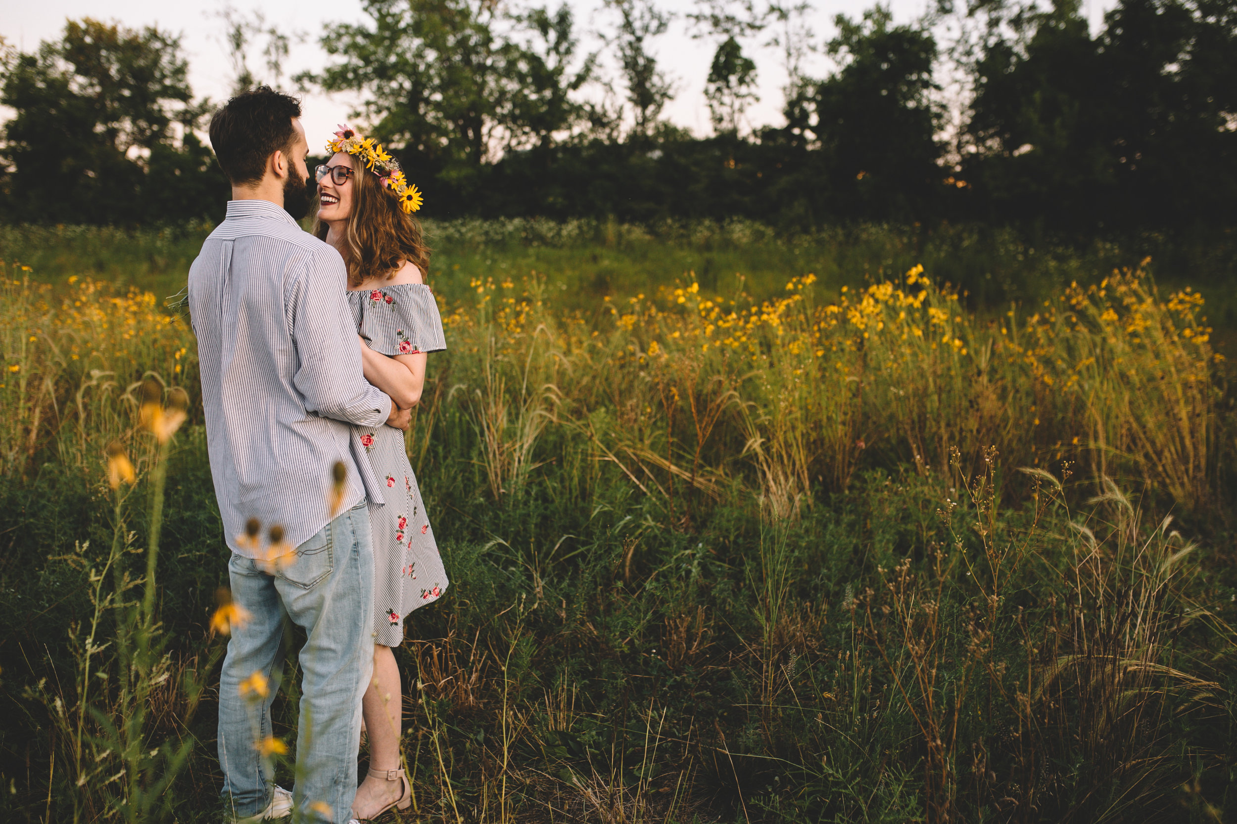 Golden Wildflower Field Engagement Photos Indianapolis, IN Again We Say Rejoice Photography  (11 of 83).jpg