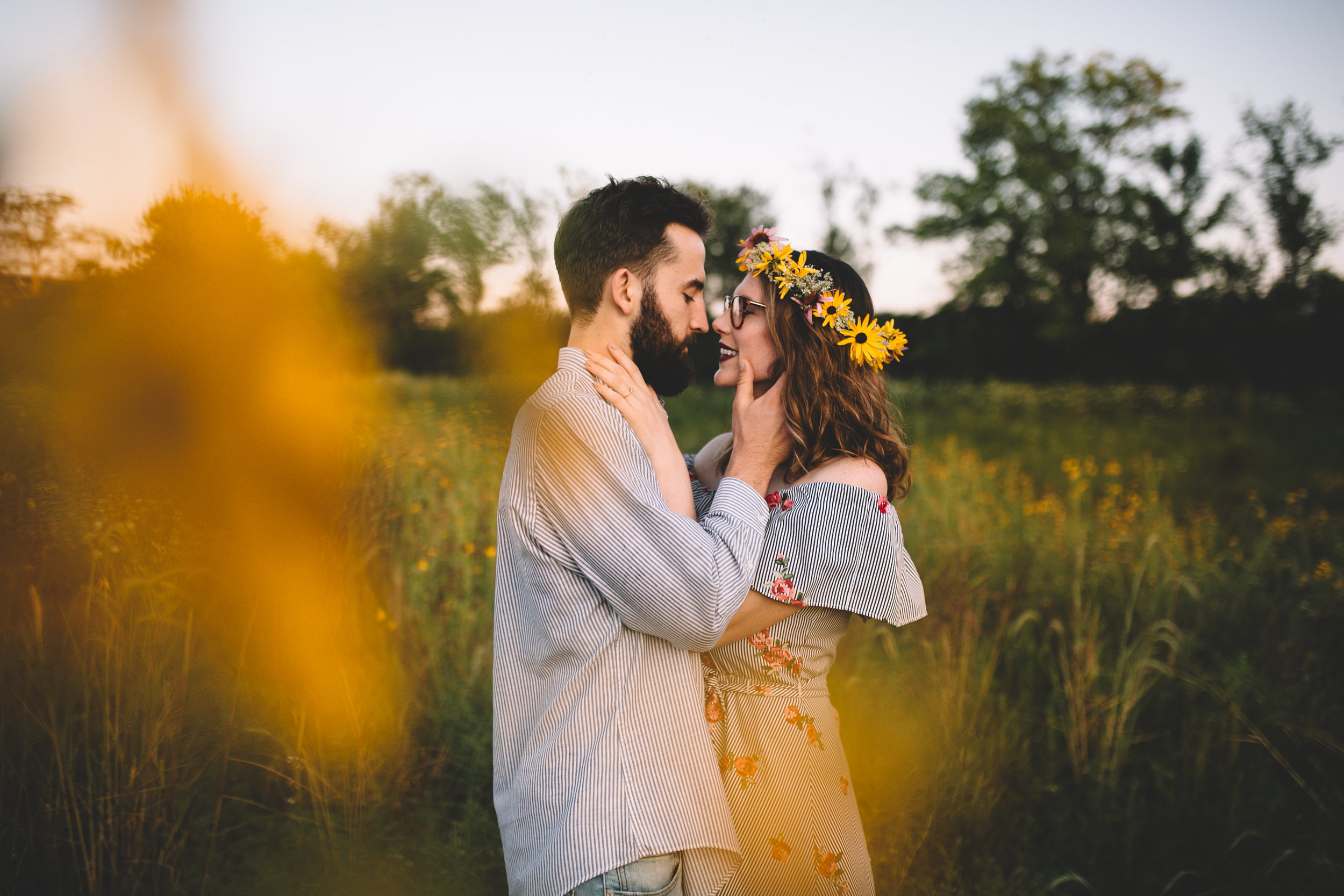 Golden Wildflower Field Engagement Photos Indianapolis, IN Again We Say Rejoice Photography  (14 of 83).jpg