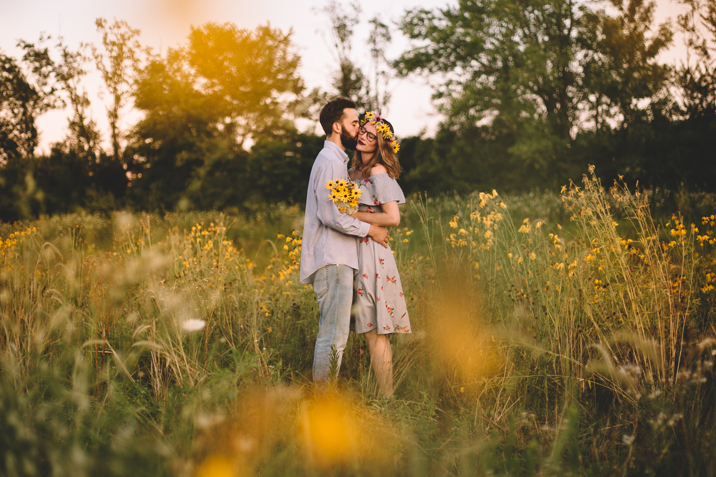 Golden Wildflower Field Engagement Photos Indianapolis, IN Again We Say Rejoice Photography  (17 of 83).jpg