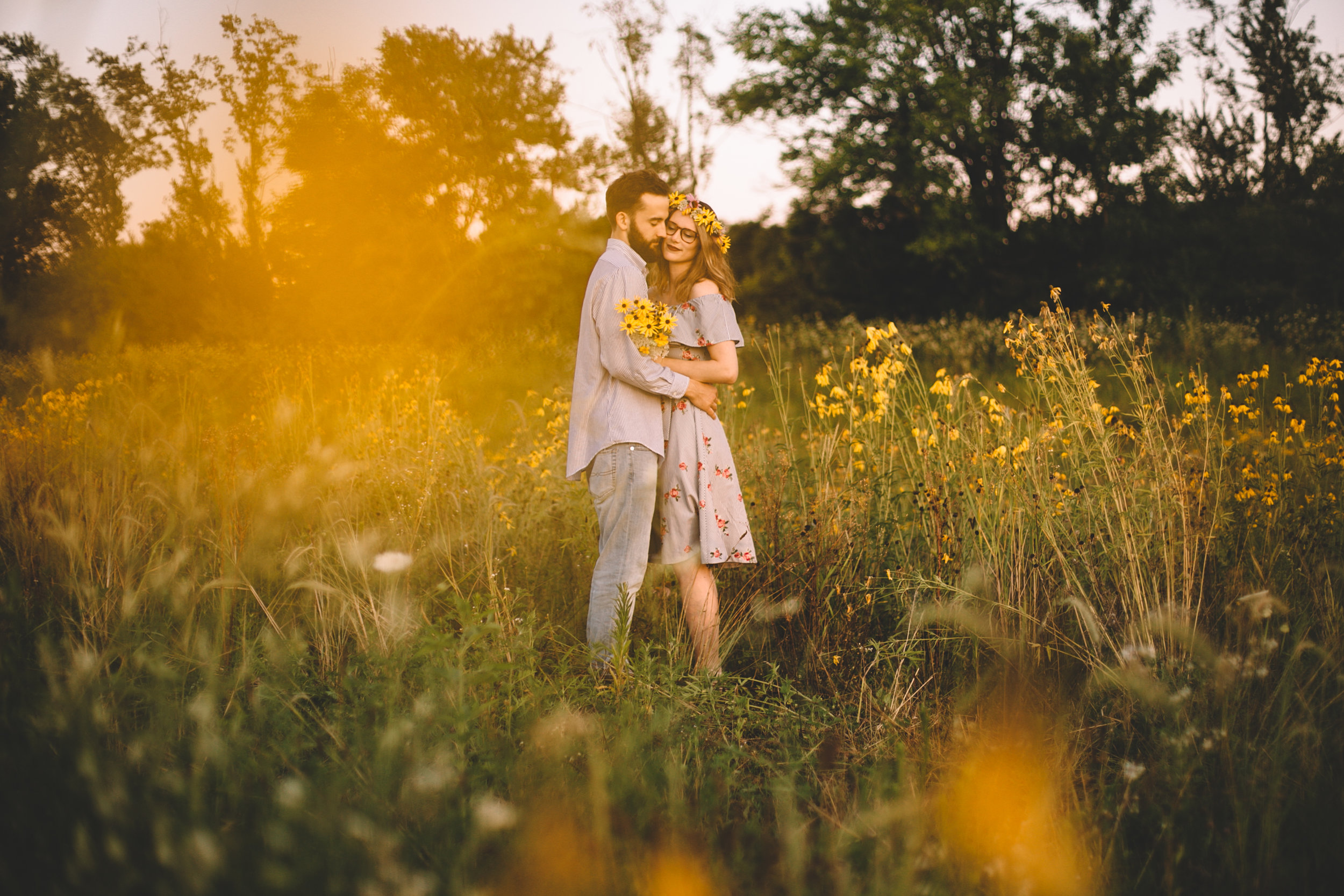 Golden Wildflower Field Engagement Photos Indianapolis, IN Again We Say Rejoice Photography  (16 of 83).jpg