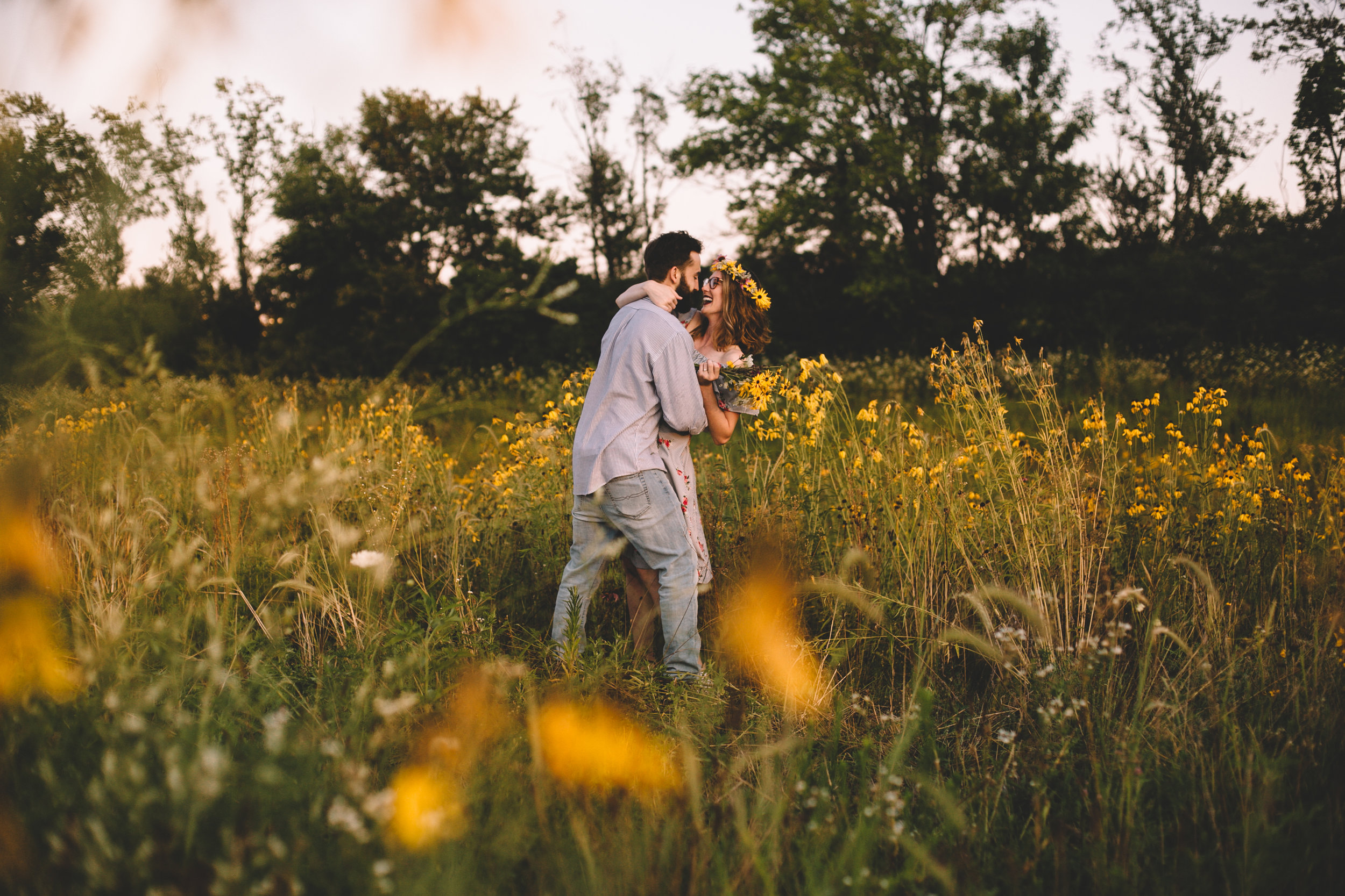 Golden Wildflower Field Engagement Photos Indianapolis, IN Again We Say Rejoice Photography  (20 of 83).jpg