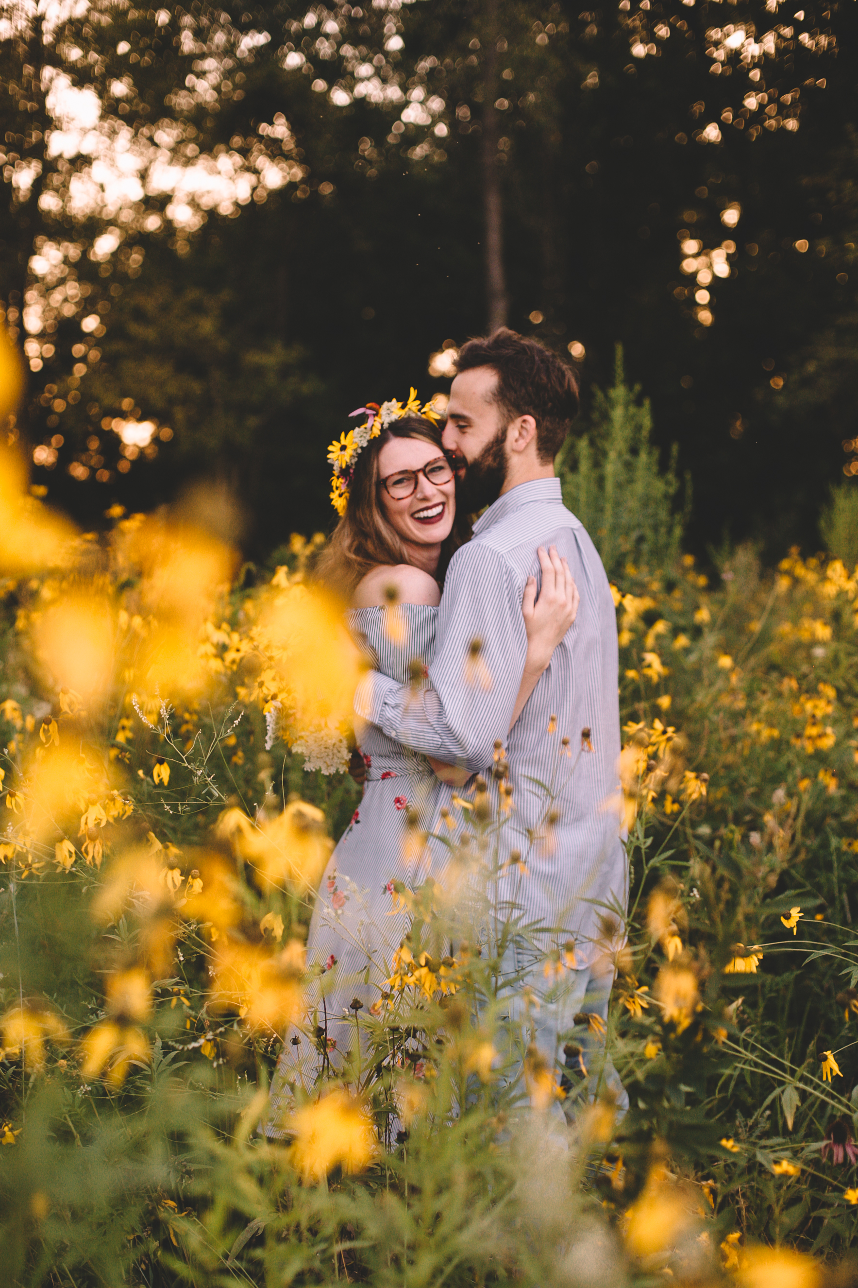 Golden Wildflower Field Engagement Photos Indianapolis, IN Again We Say Rejoice Photography  (35 of 83).jpg