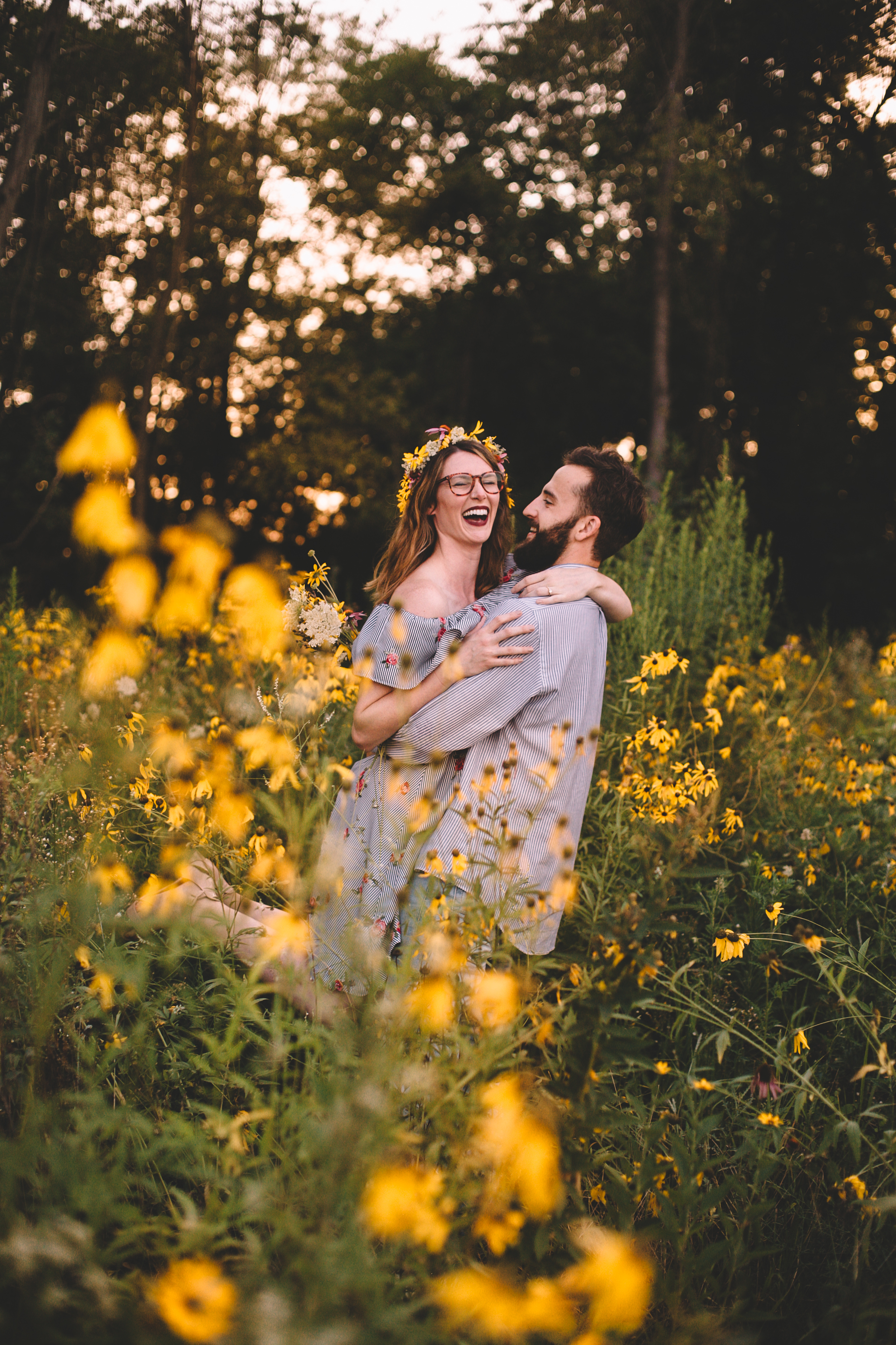 Golden Wildflower Field Engagement Photos Indianapolis, IN Again We Say Rejoice Photography  (38 of 83).jpg