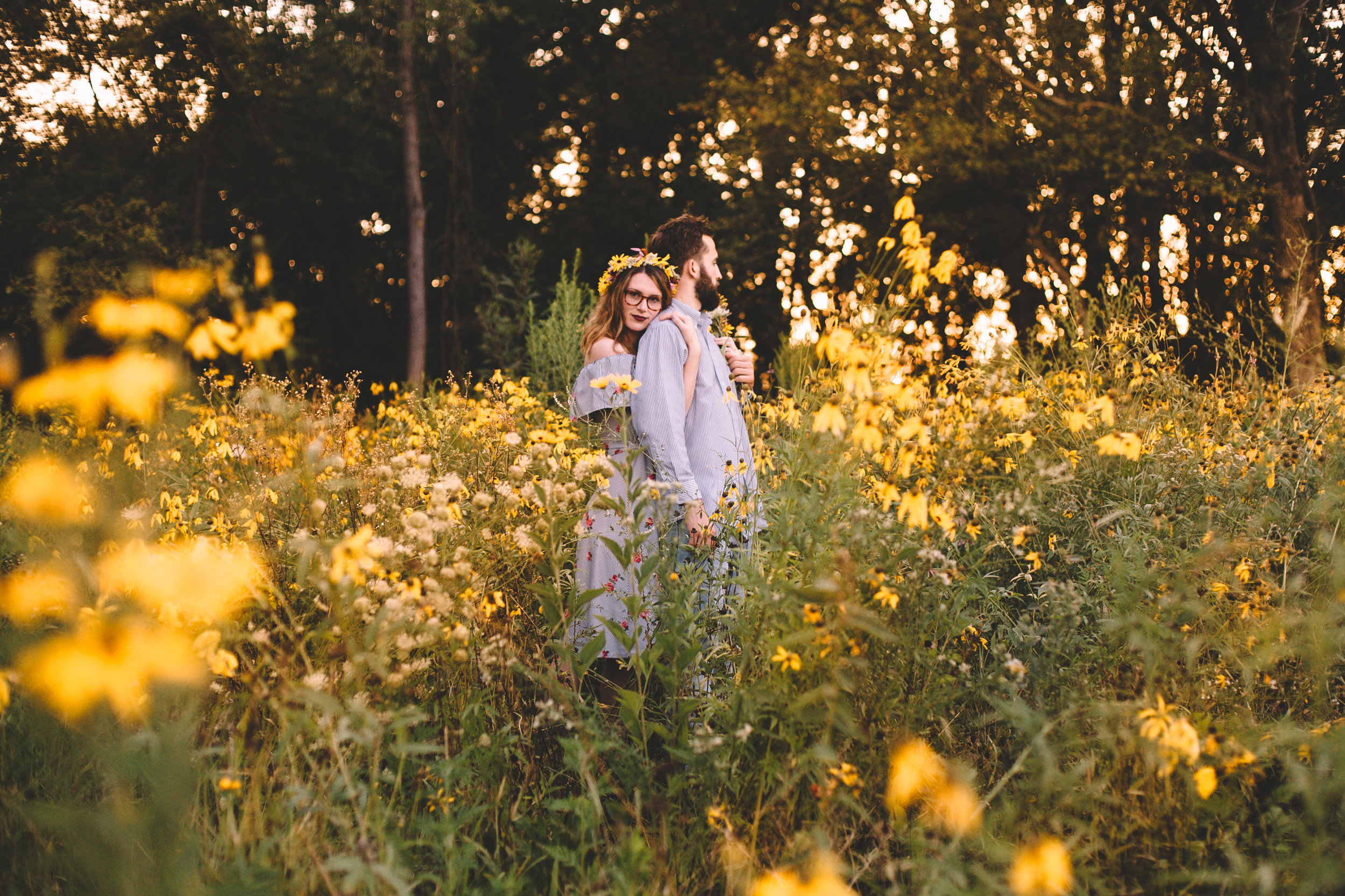 Golden Wildflower Field Engagement Photos Indianapolis, IN Again We Say Rejoice Photography  (39 of 83).jpg