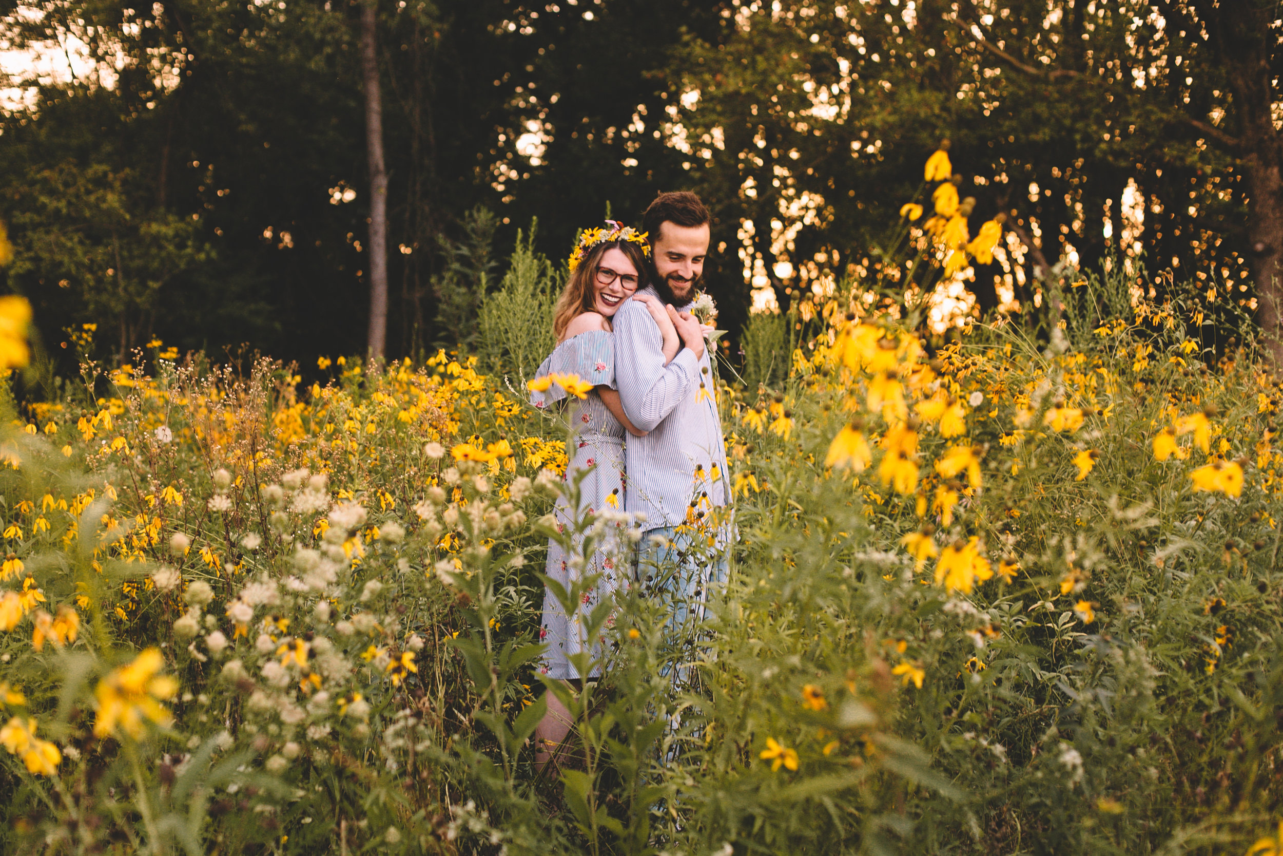 Golden Wildflower Field Engagement Photos Indianapolis, IN Again We Say Rejoice Photography  (40 of 83).jpg
