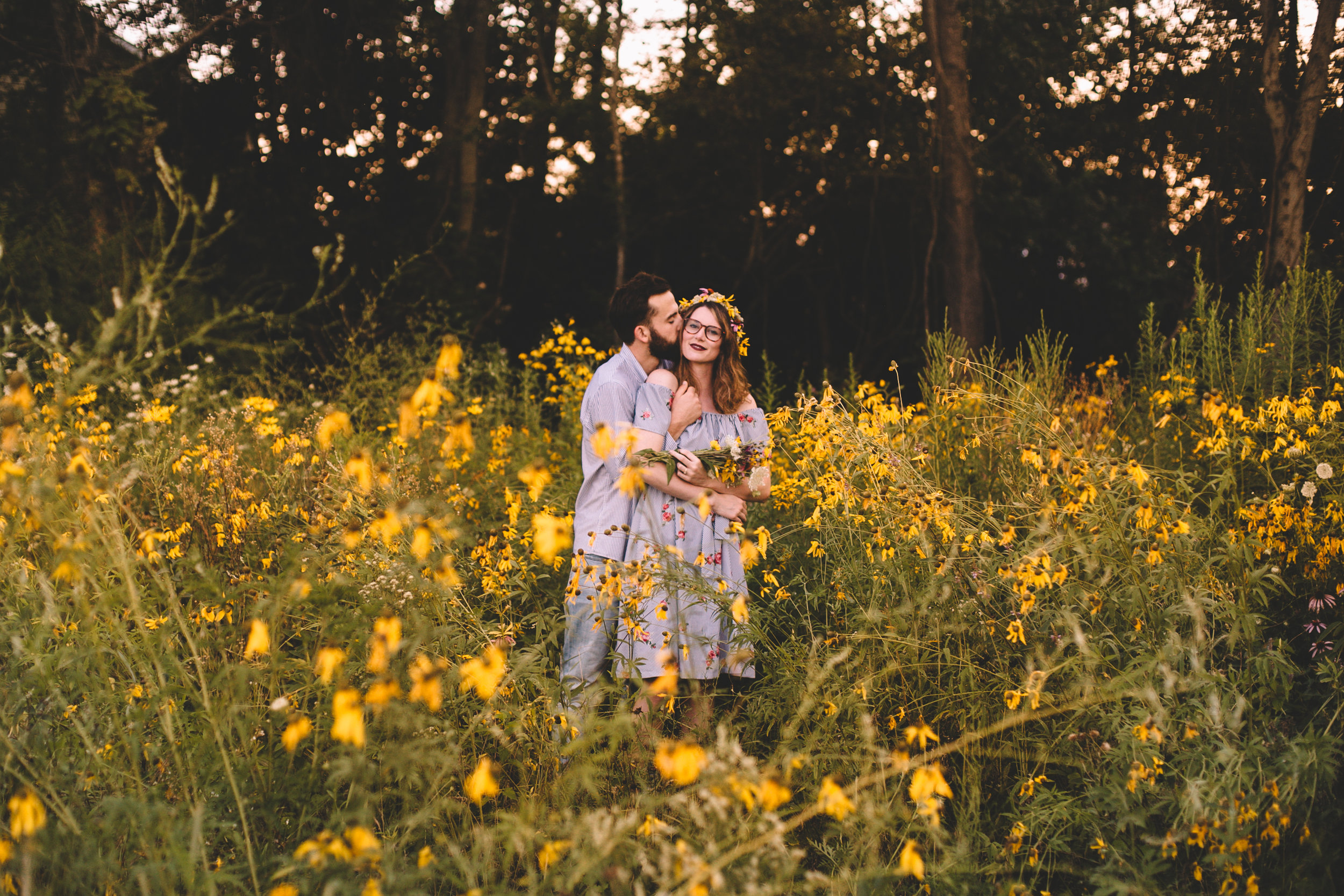 Golden Wildflower Field Engagement Photos Indianapolis, IN Again We Say Rejoice Photography  (44 of 83).jpg